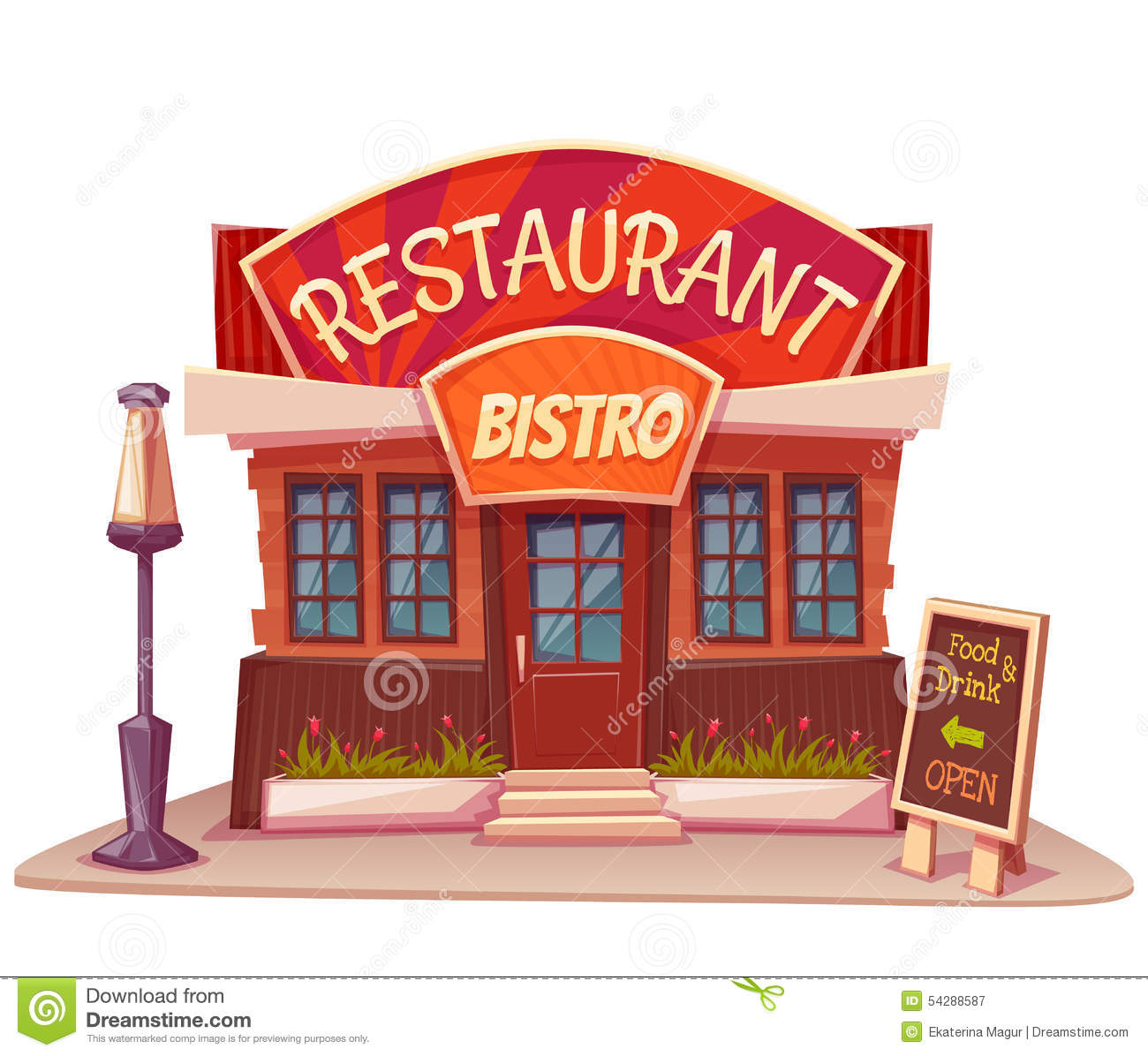 For restaurant pictures graphics illustrations clipart photos - Banner Bistro Building Illustration Restaurant