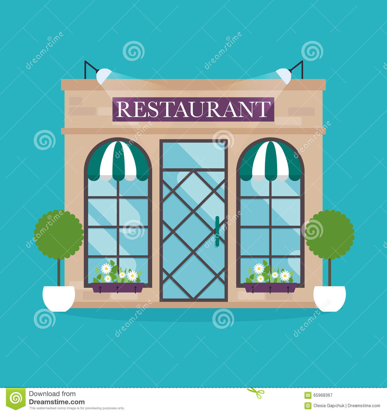 For restaurant pictures graphics illustrations clipart photos - Royalty Free Vector Building Business Design Facade Flat Illustration Restaurant Style Vector