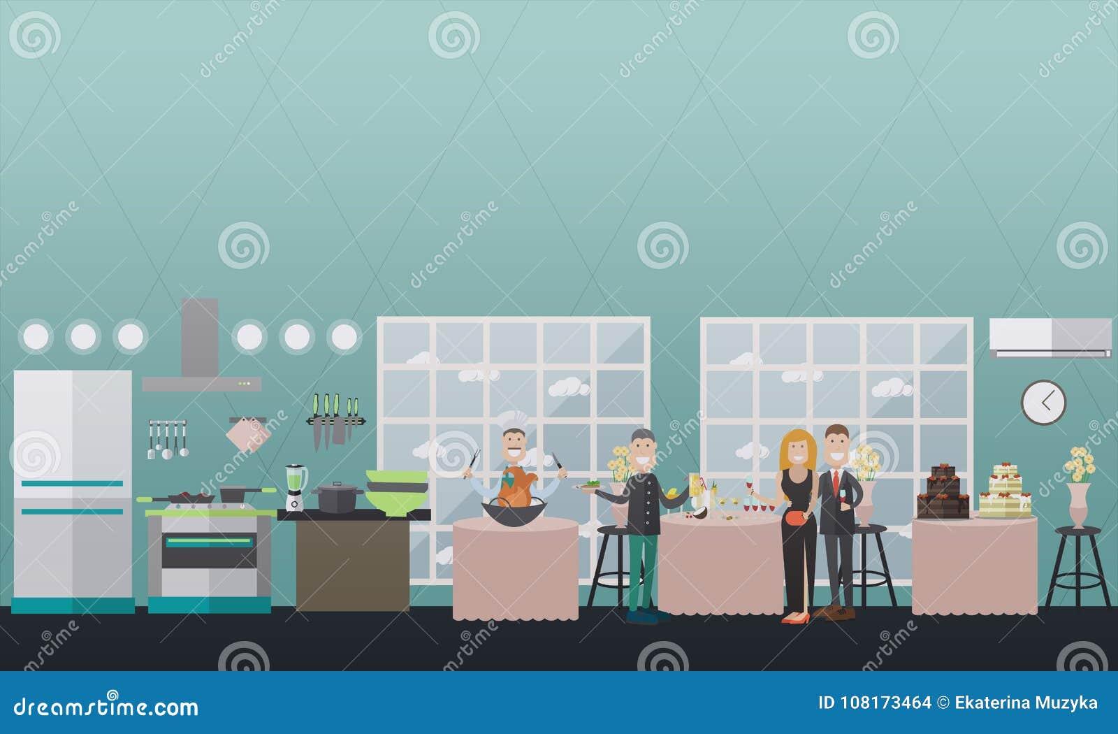 Buffet Style Dinner At Restaurant Vector Flat Illustration Stock ...