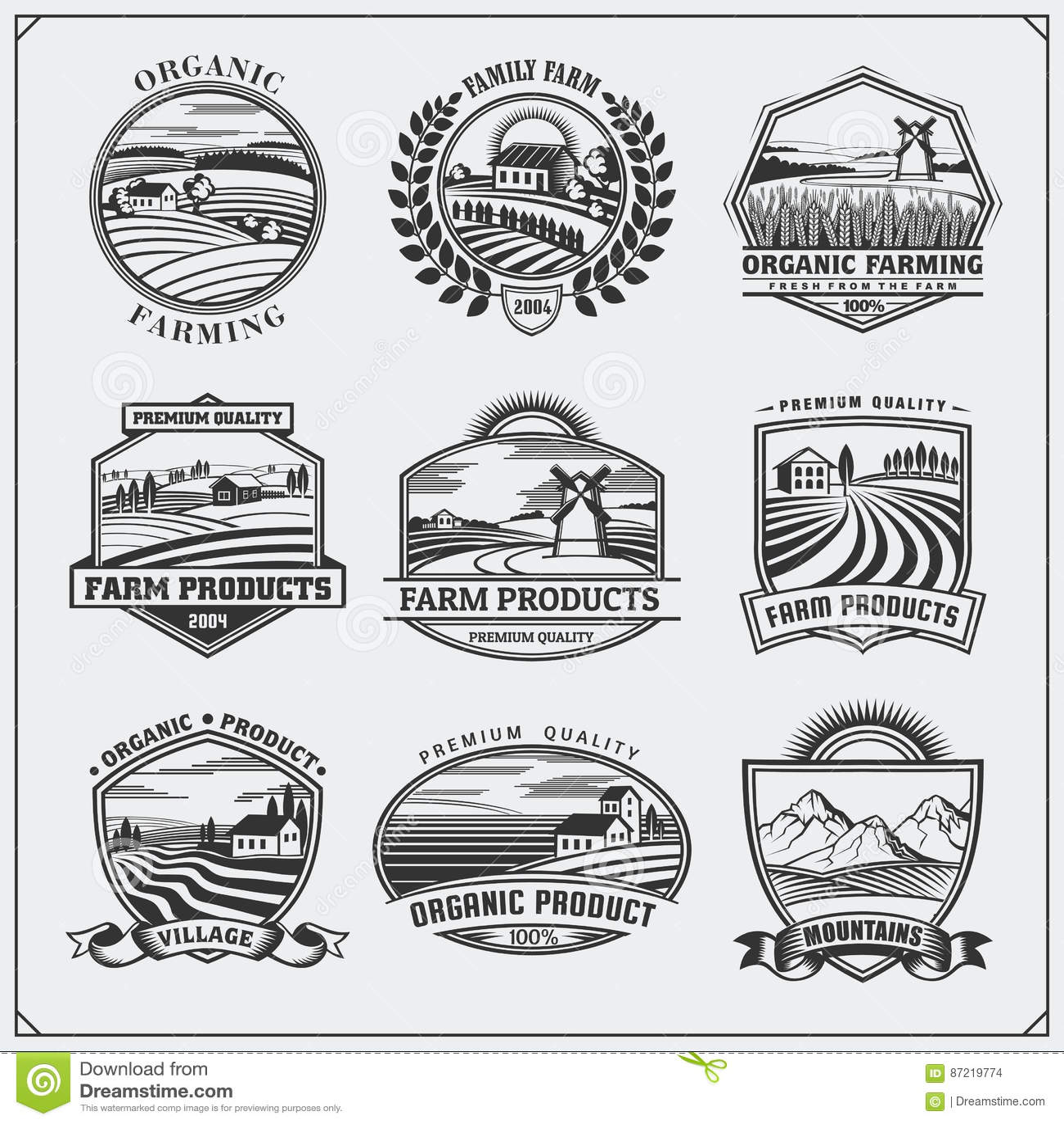 Vector illustration of retro landscapes. Farm fresh food labels, badges, emblems and design elements. Organic and ecology design.