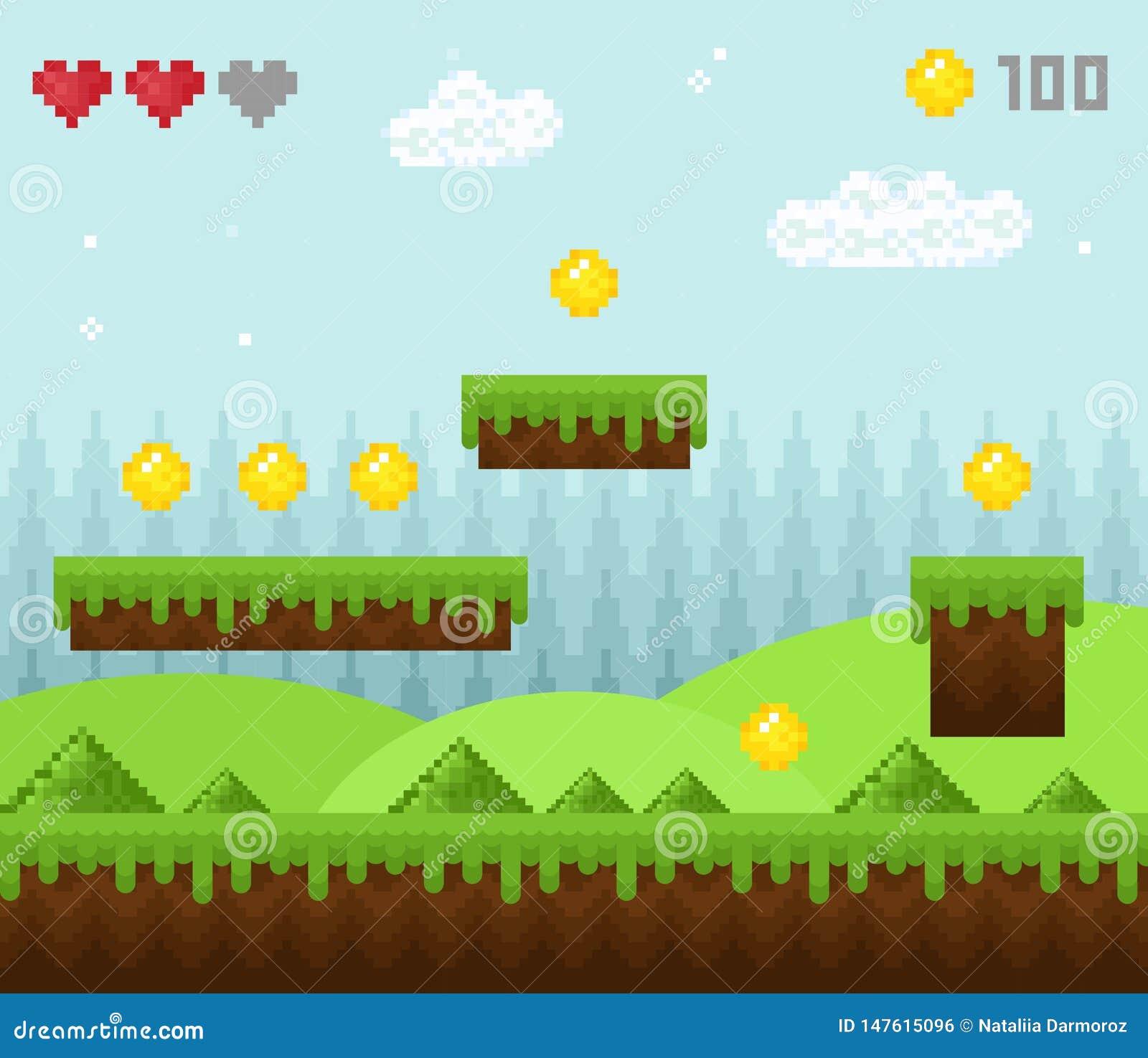 Vector Illustration Of Retro Style Pixel Game Landscape