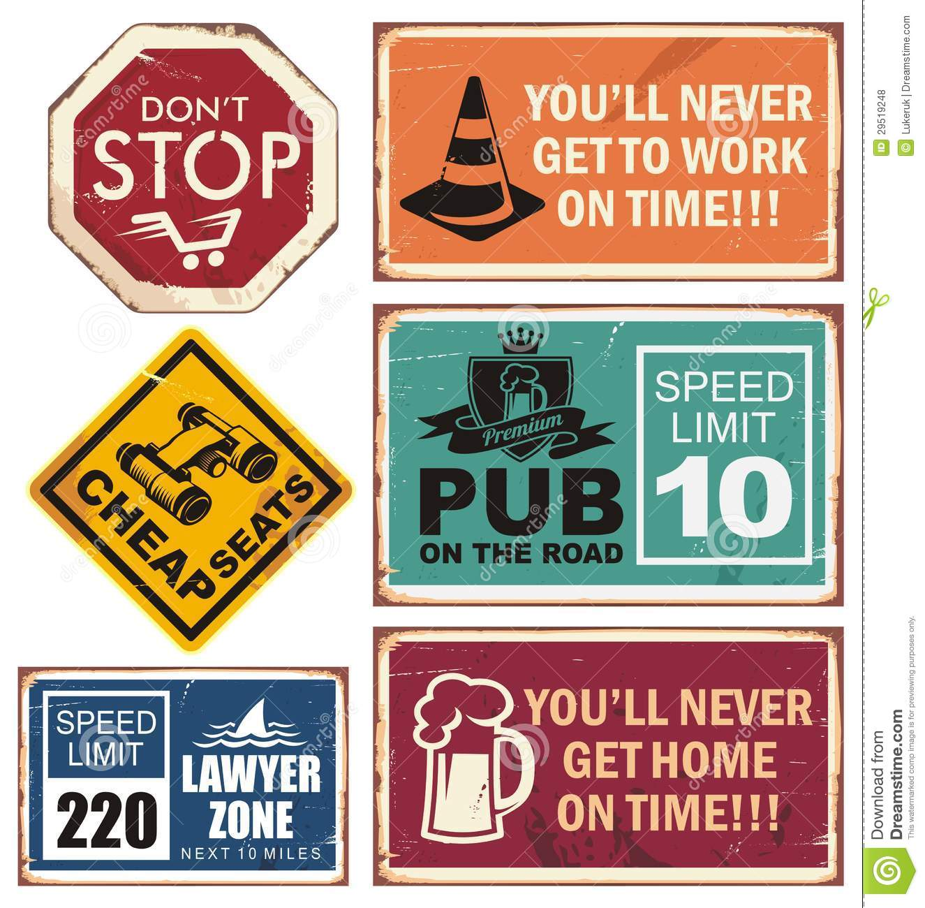 Vector Illustration Of Road Signs With Unique Creative Messages