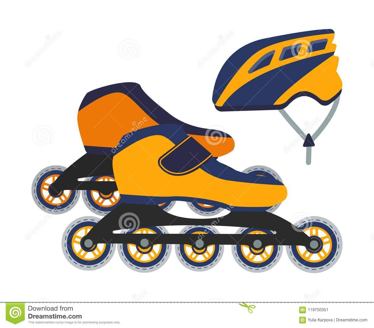 214f86a9f3b Vector Illustration Of Roller Blades And A Helmet. Stock Vector ...