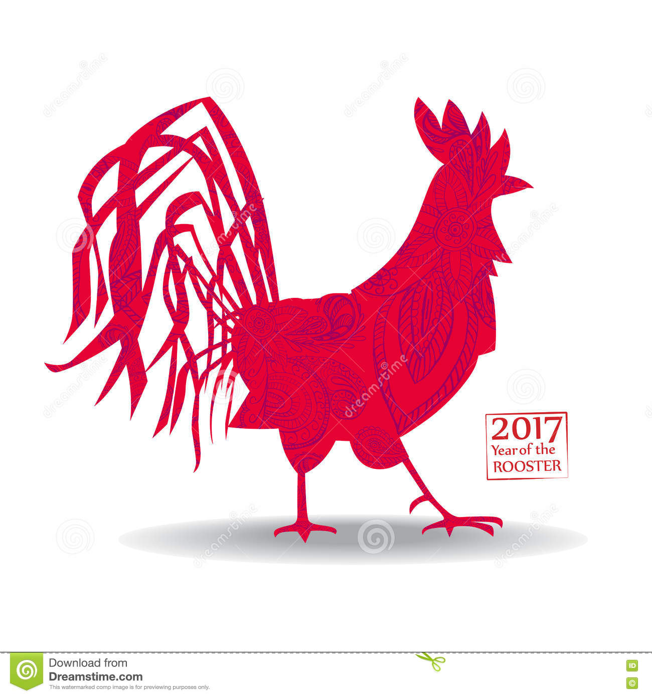 Chinese Calendar Illustration : Vector illustration of rooster symbol on the chinese
