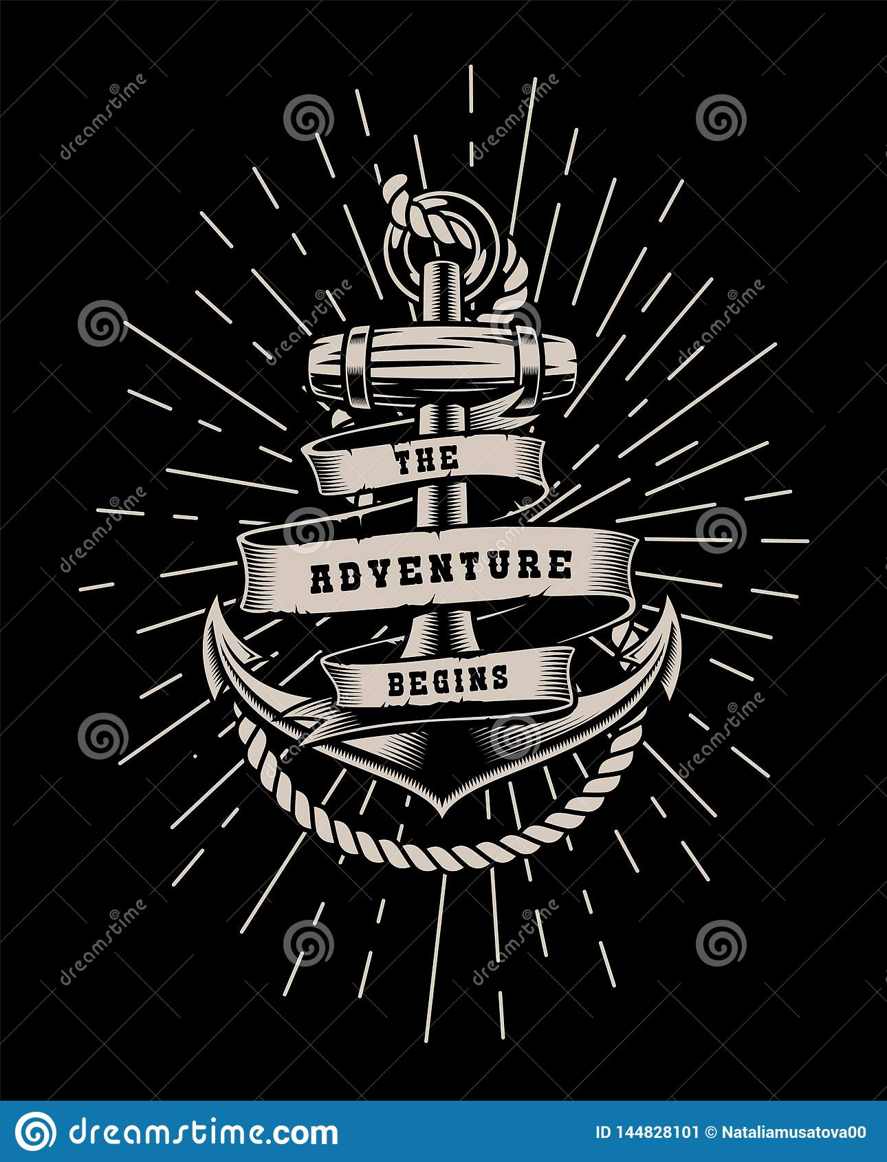 Vector illustration with rope and lettering on a dark background.