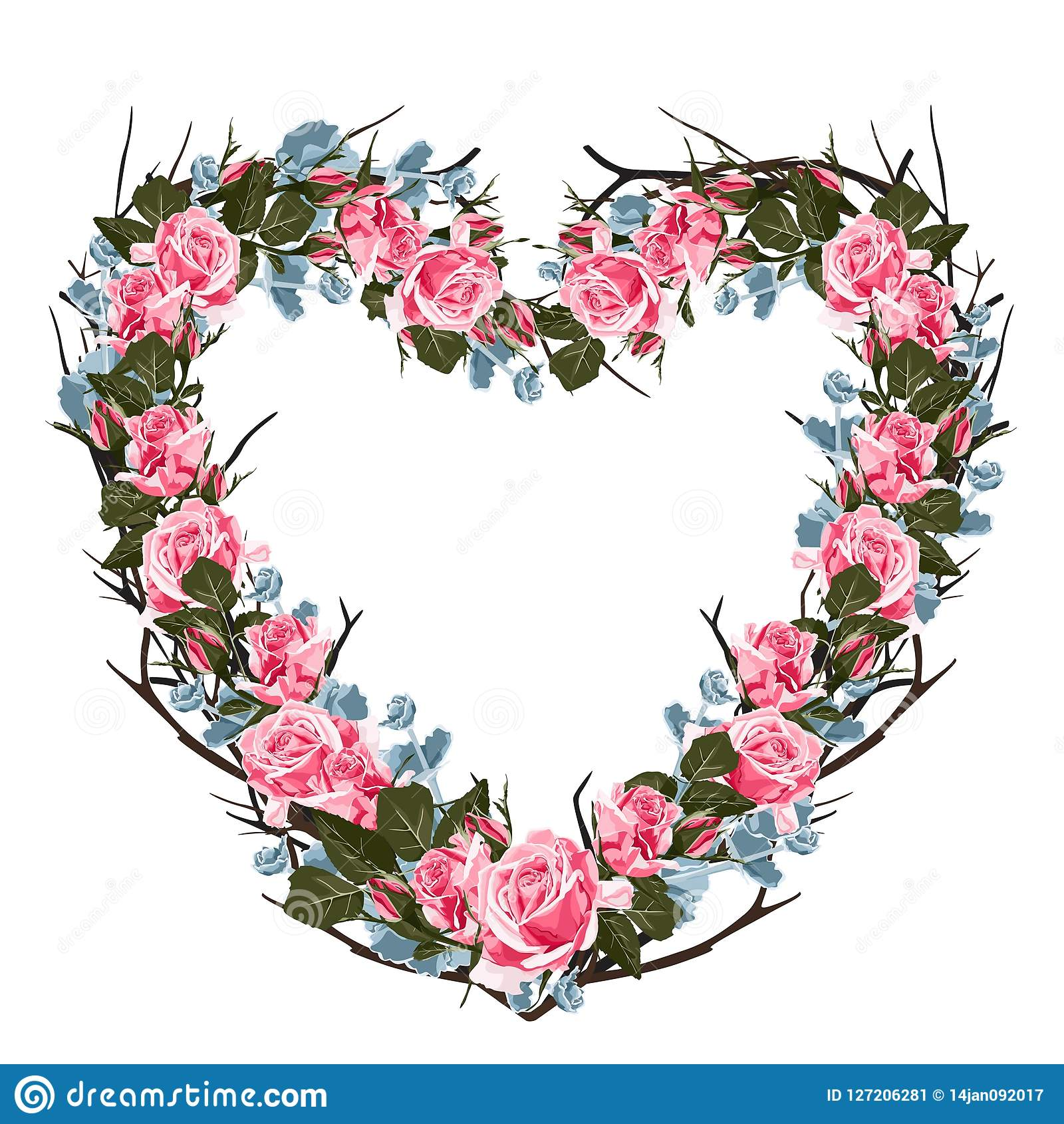 Vector Illustration Of Roses And Succulent Frame Colorful Floral Heart Drawing Watercolor Style Stock Illustration Illustration Of Frame Beauty 127206281