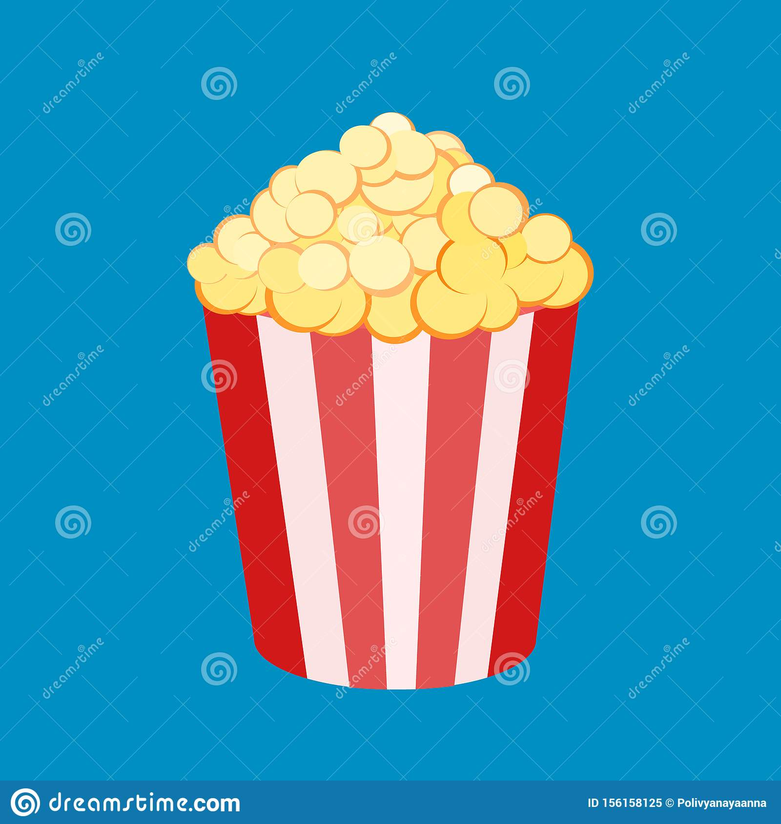Vector Illustration Of A Round Striped Popcorn Box Bucket With Pop Corn Movie Snack Time To Watch And Eat Isolated In White Stock Illustration Illustration Of Film Isolated 156158125
