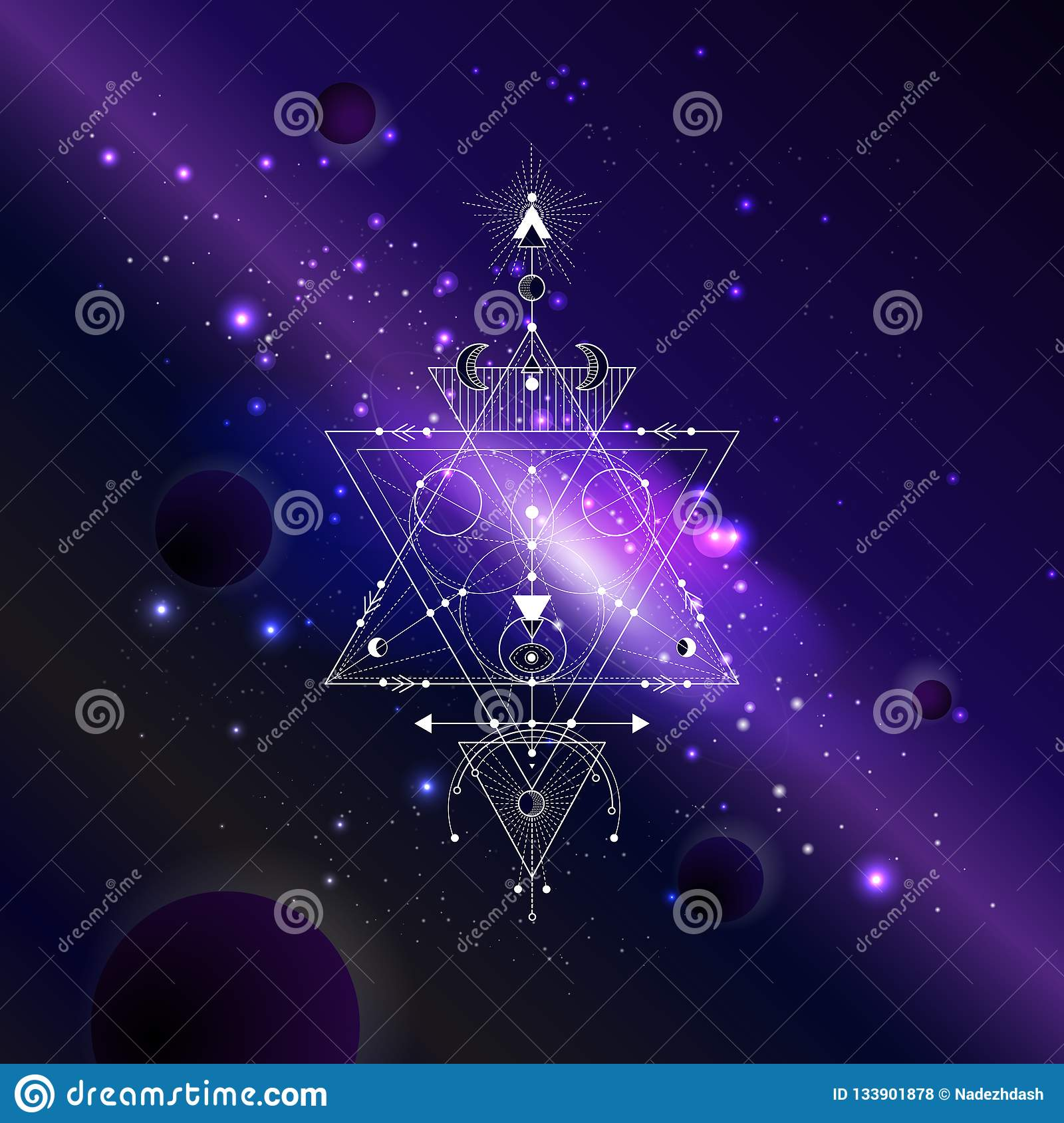Vector Illustration Of Sacred Or Mystic Symbol Against The