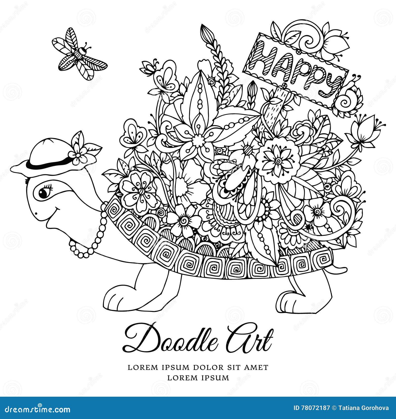 Vector Illustration, Schildkröte Mit Einem Zeiger Zum Glücklichen ...