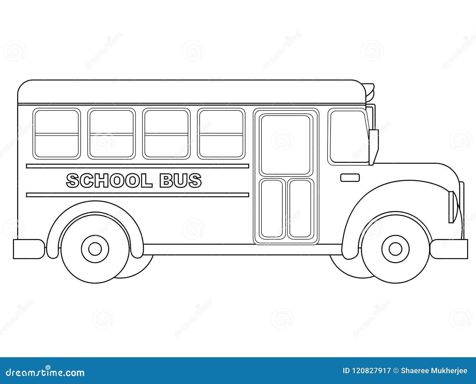 Vector Illustration School Bus Coloring Page Stock Vector ...