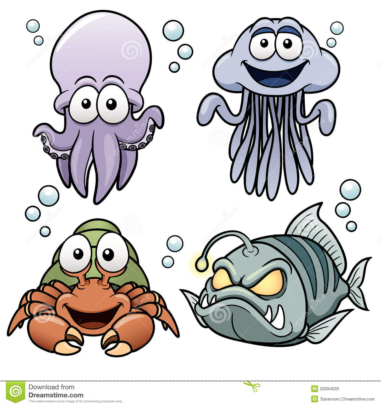 Sea Animals cartoon stock vector. Illustration of puffer ...