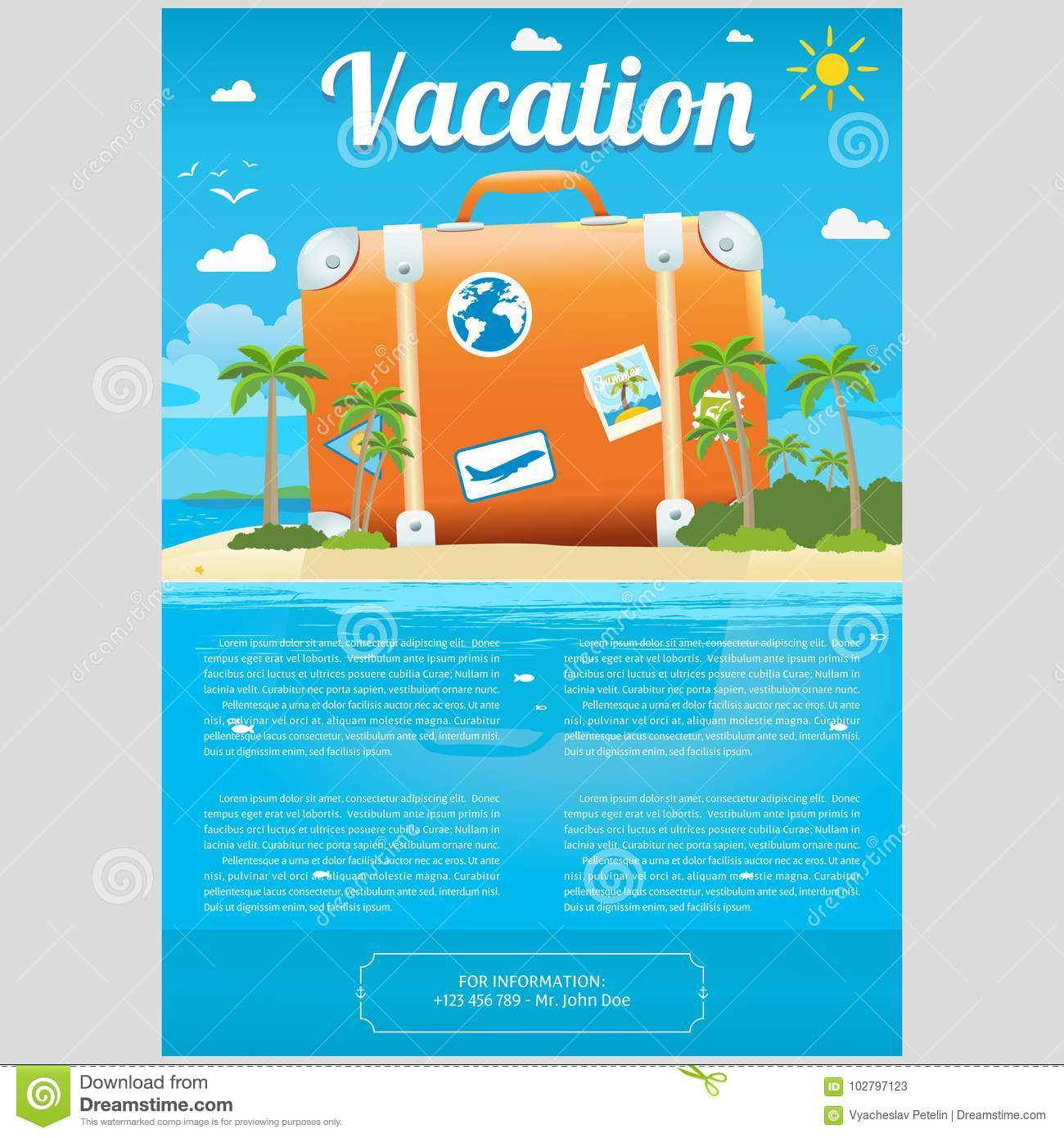 vector illustration of travel suitcase on the sea island stock