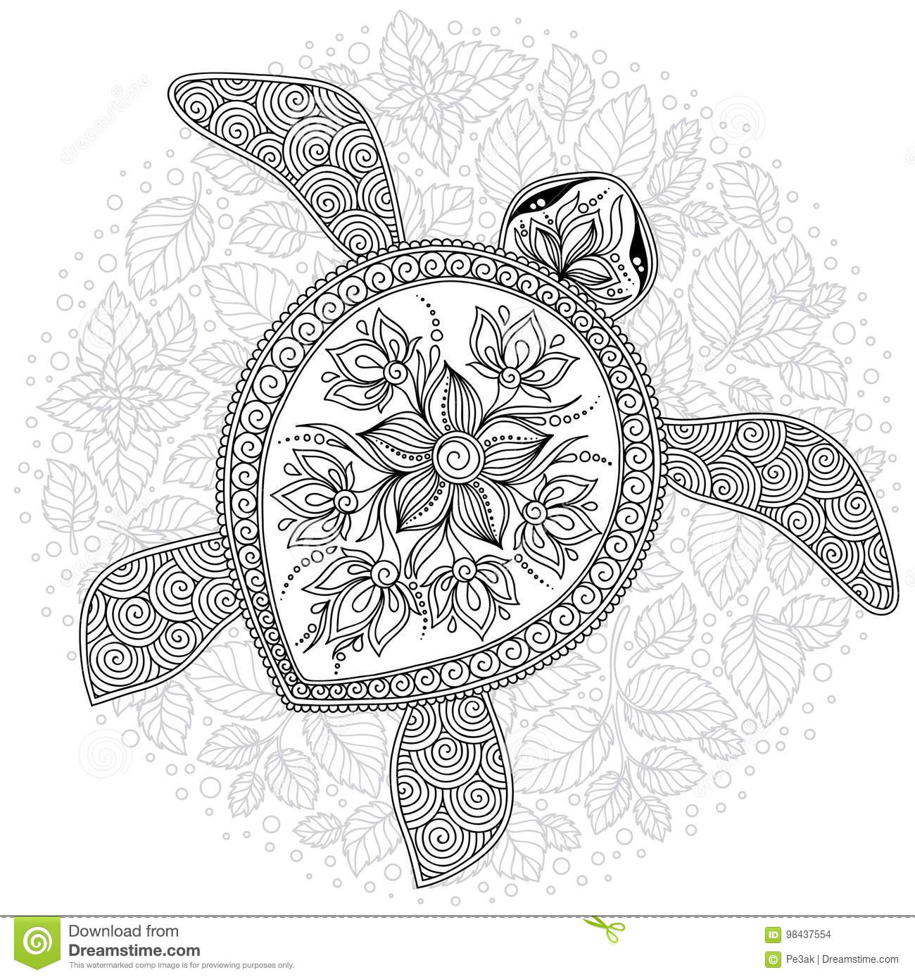 Vector Illustration Of Sea Turtle For Coloring Book Pages Stock