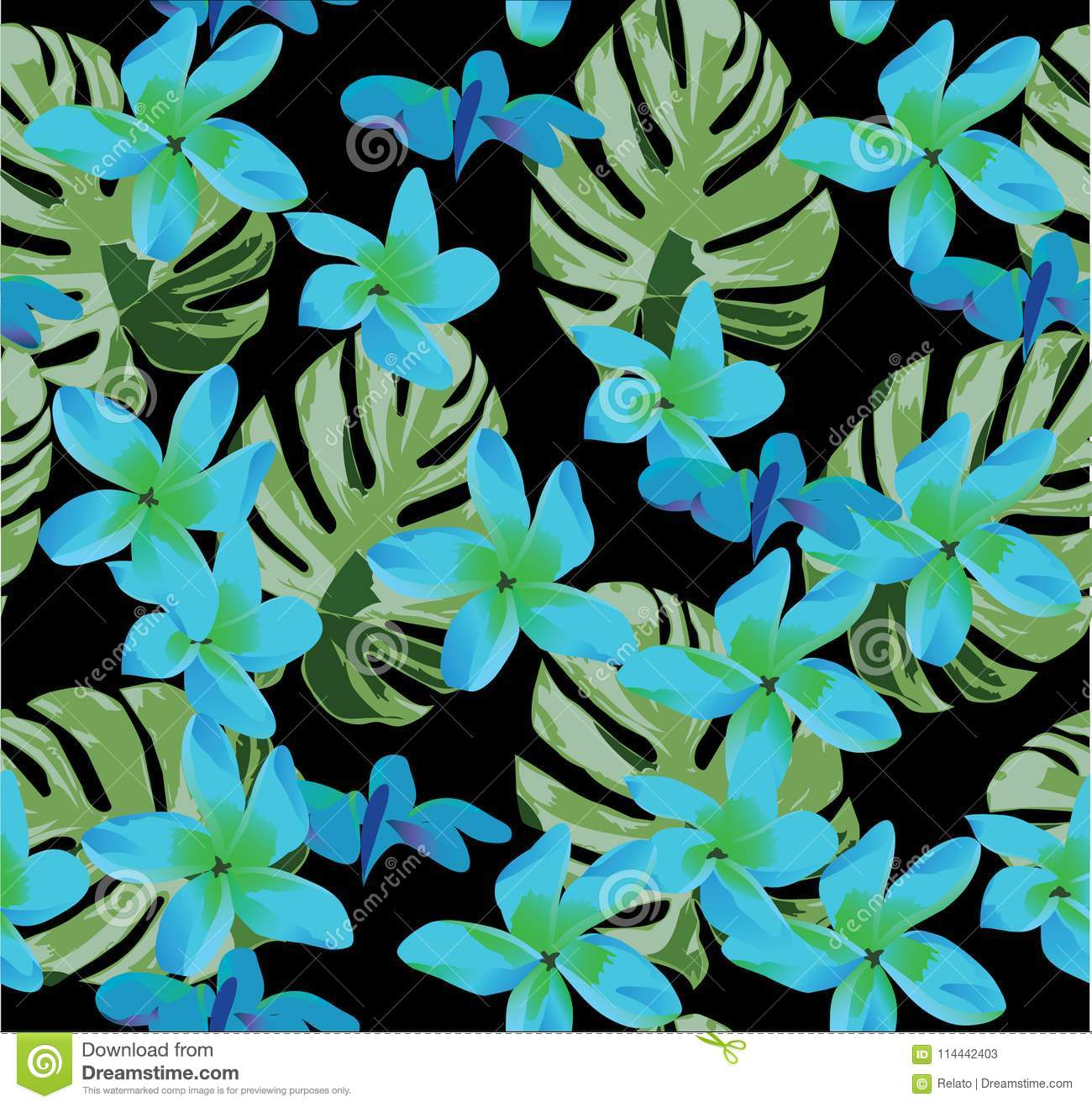 Vector Seamless Floral Background With Palm Leaves Stock Vector