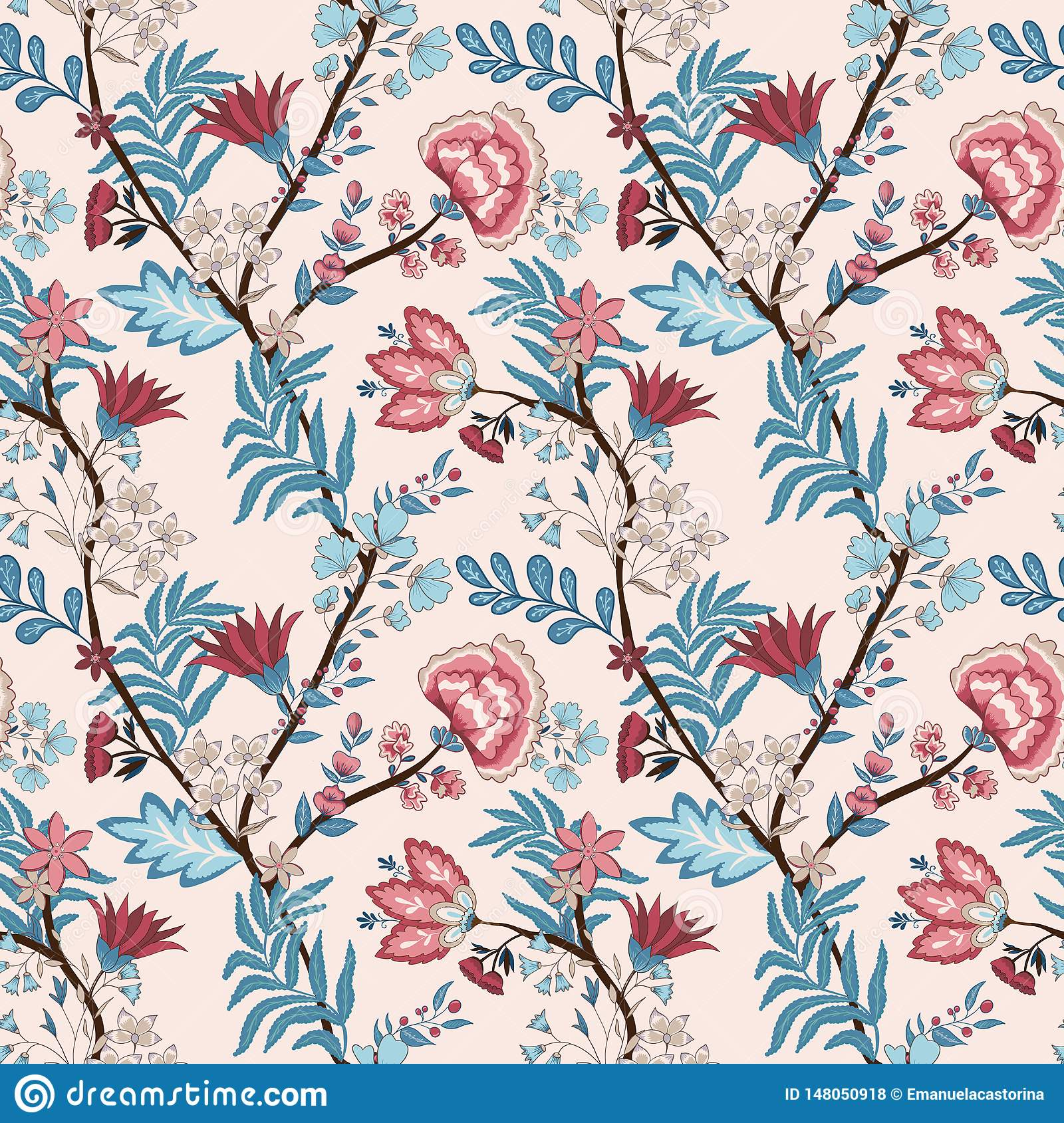 Vector illustration of a seamless floral pattern. Indian and oriental style