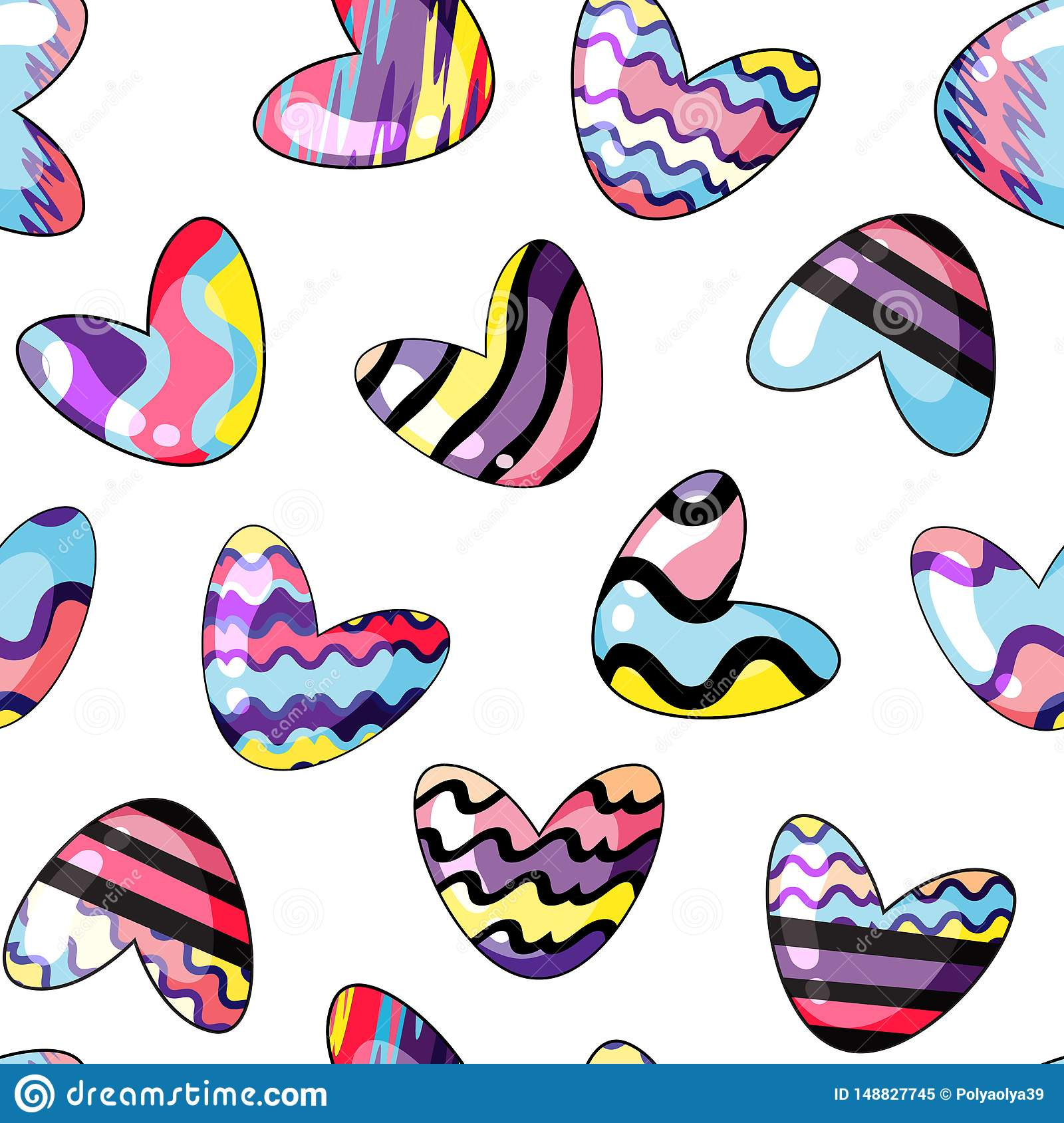 Vector illustration. Seamless pattern with cute hearts painted in rainbow colors on transparent background