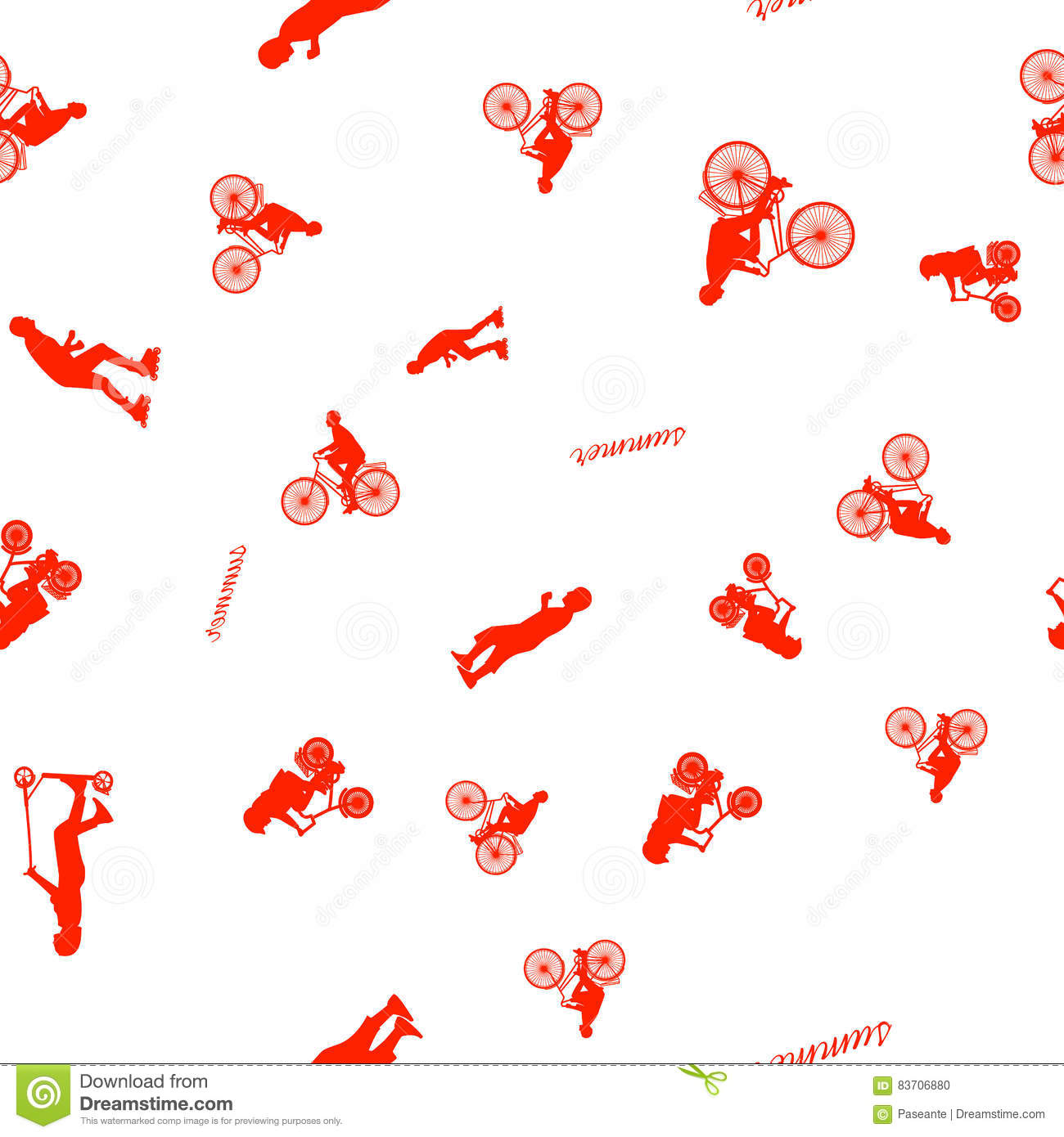 Vector Illustration Of A Seamless Pattern With The Images Of People Active Summer Vacationers, Flat Style Stock Illustration