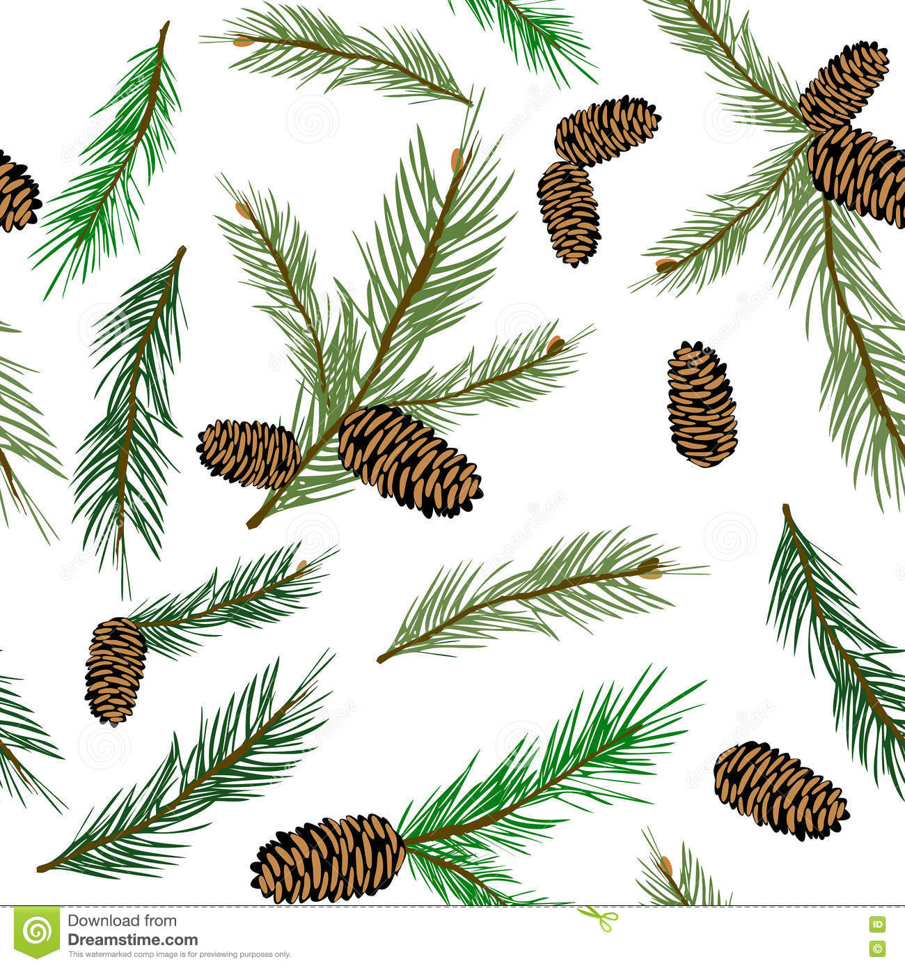 Pinecone Branch Seamless Background. Stock Illustration ...