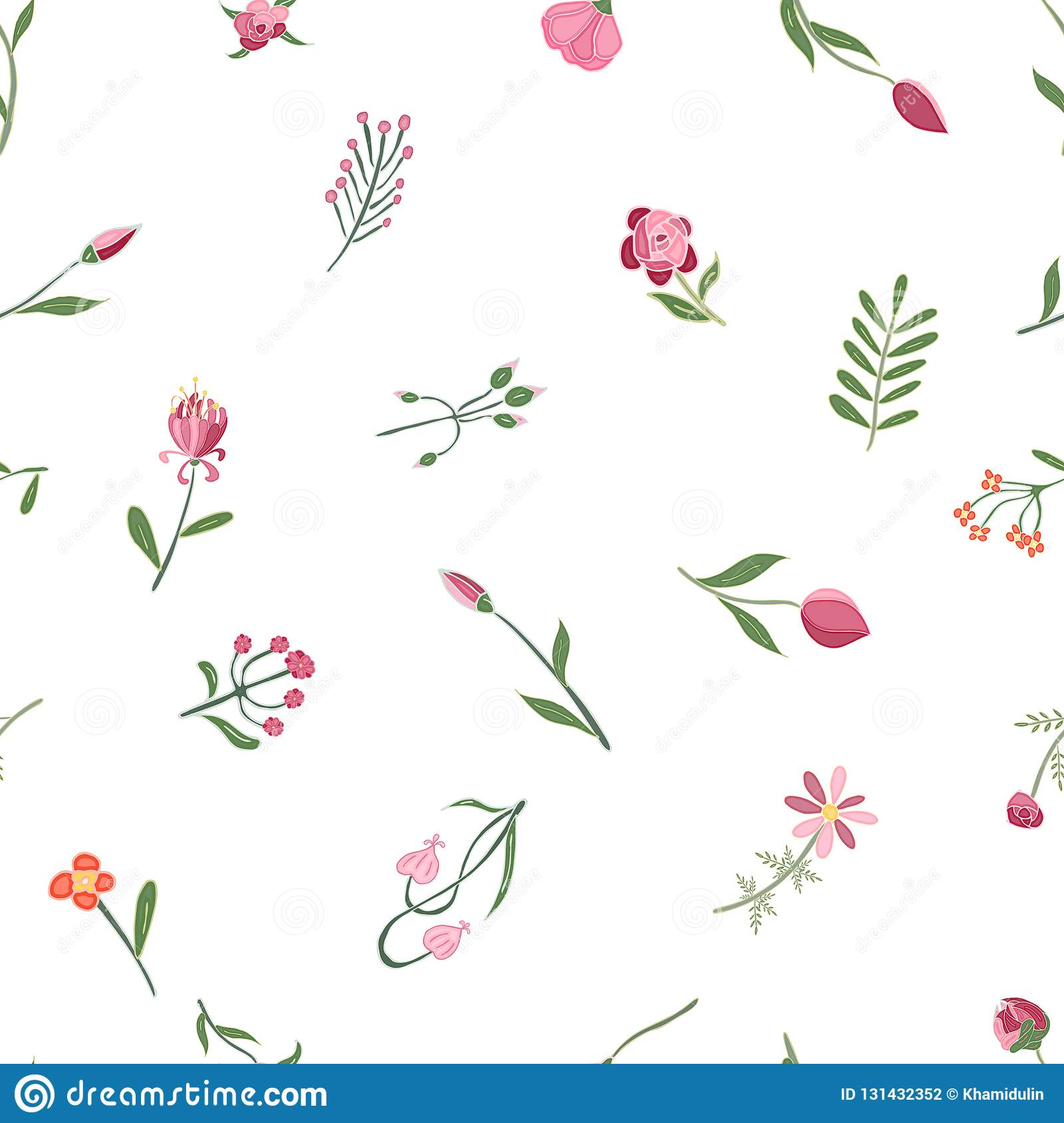 Vector Romantic hand drawn background with flowers. Vintage seamless pattern illustration.