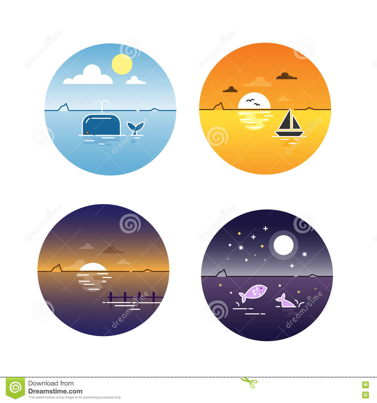 Vector illustration of seascapes day cycle set