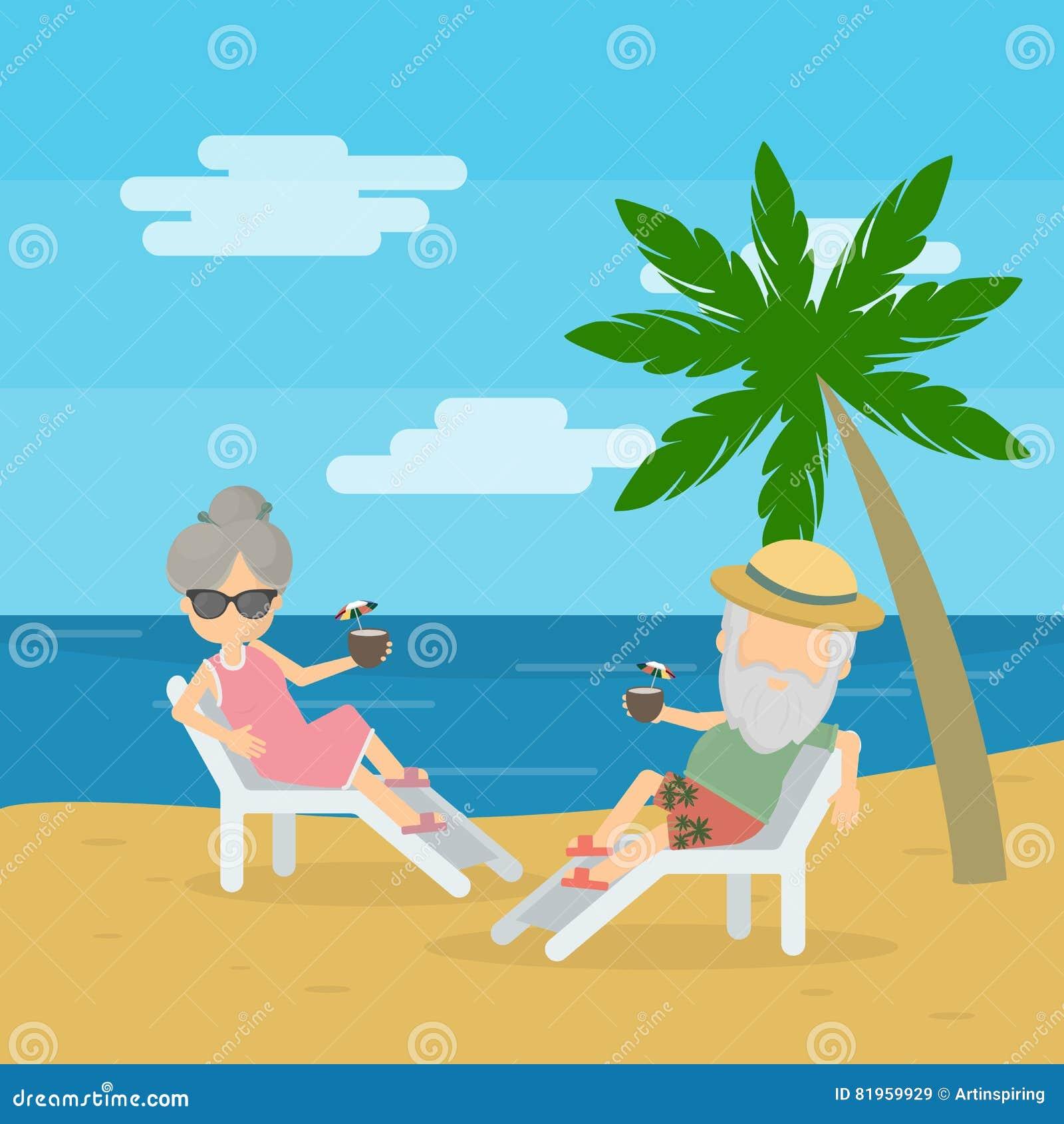Couple Enjoying Their Summer Holidays Stock Photo: Vector Illustration Of Senior Couple Stock Vector