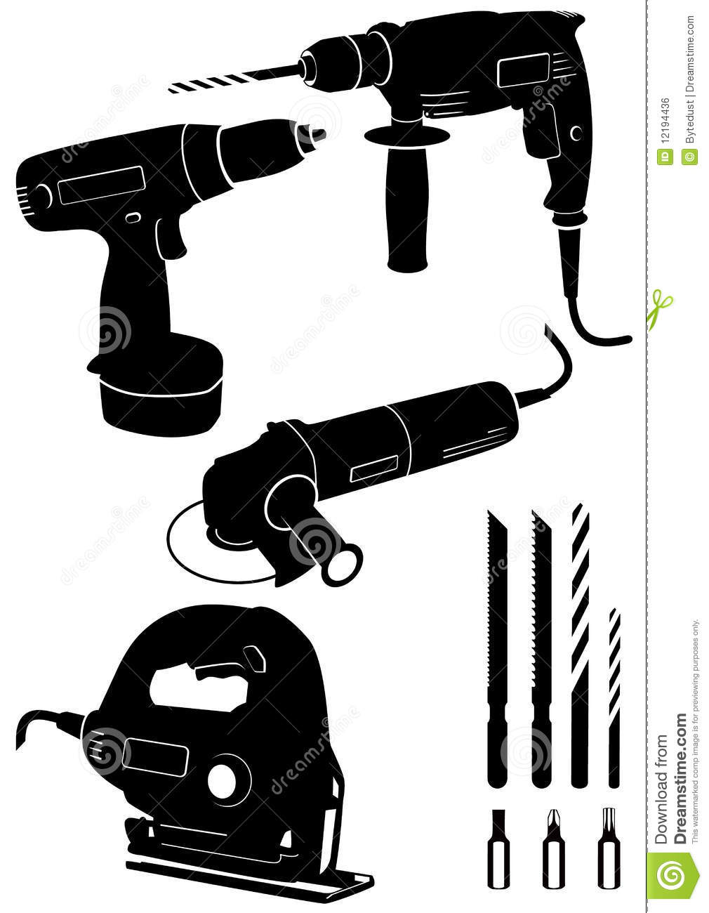 Vector illustration set of different electric power tools. All objects ...