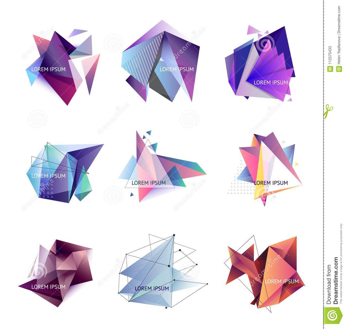 vector illustration set of abstract triangle frames geometric
