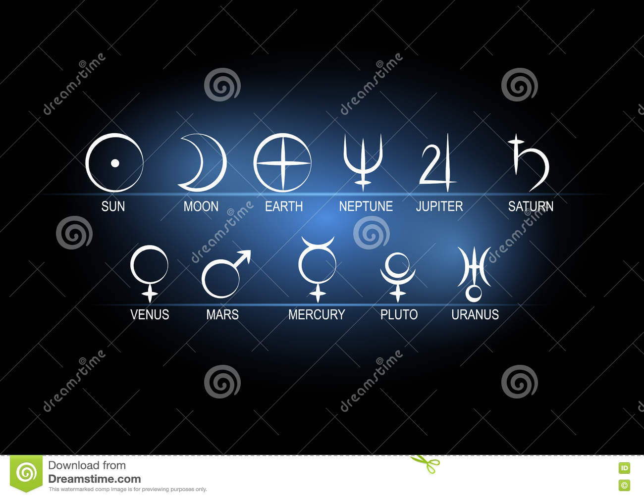 Vector Illustration Set Astronomical Symbols Of Planets White On