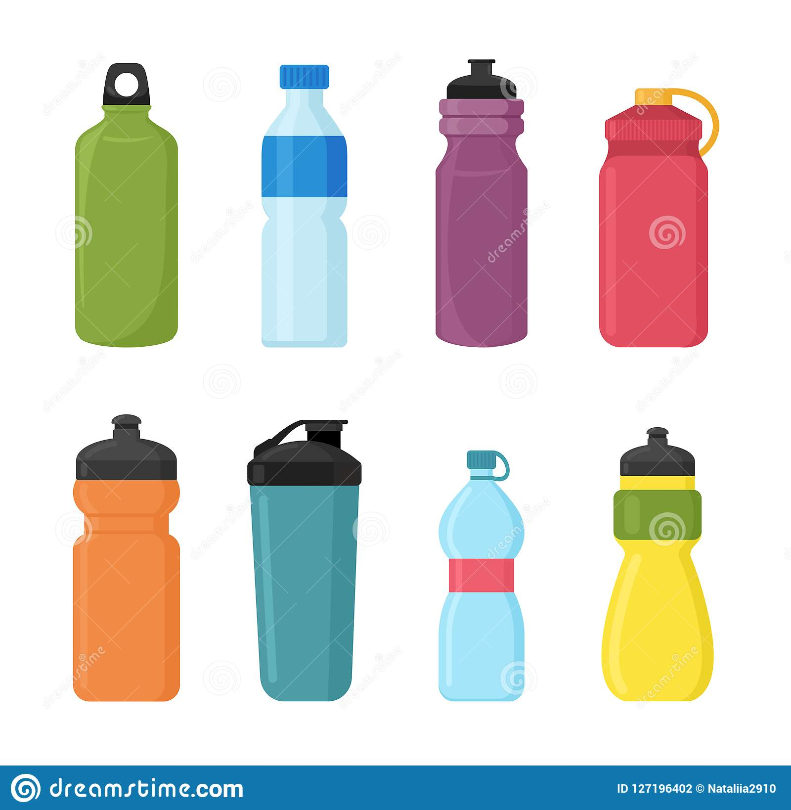 Water Bottle Vector: Vector Illustration Set Of Bicycle Plastic Bottle For