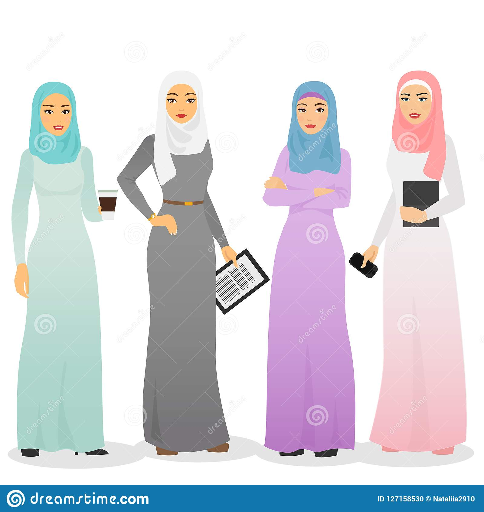 Vector illustration set of business arab women characters with hijab. Muslim female people.