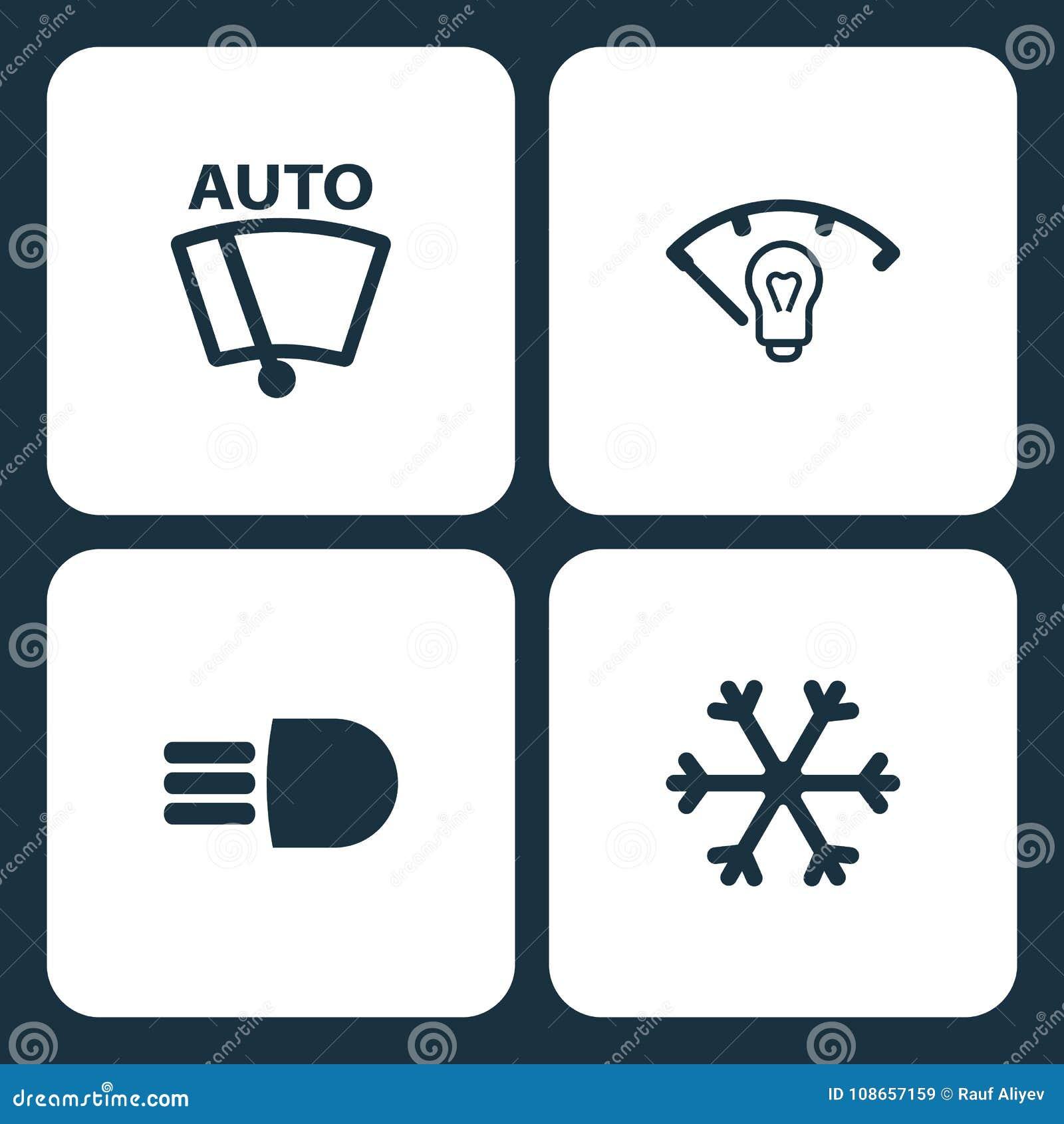 Vector Illustration Set Car Dashboard Icons Elements Vector