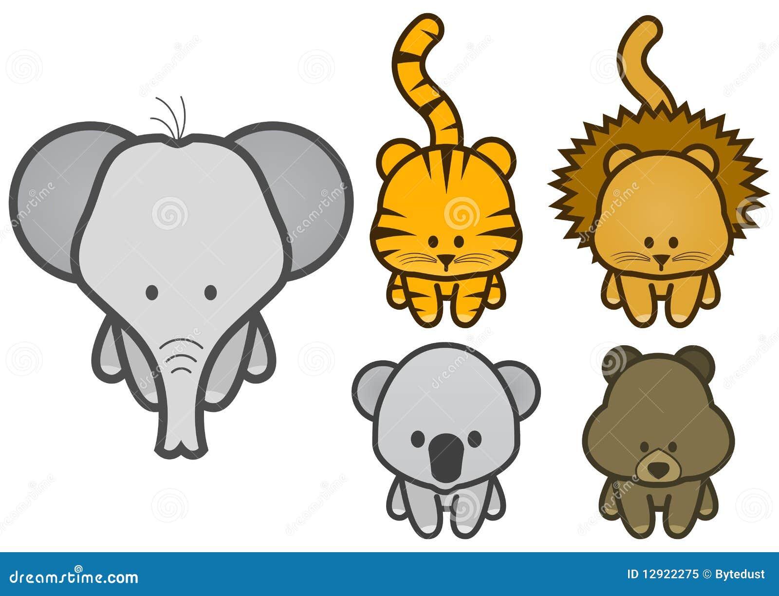 Vector Illustration Set Of Cartoon Wild Animals Royalty
