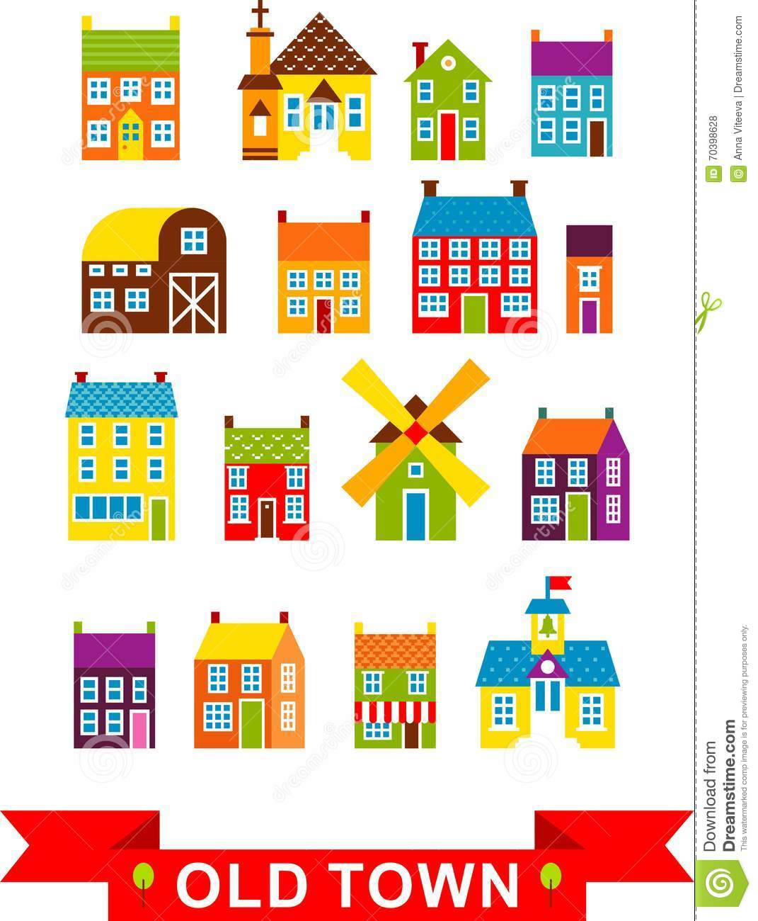 Vector illustration set of city houses