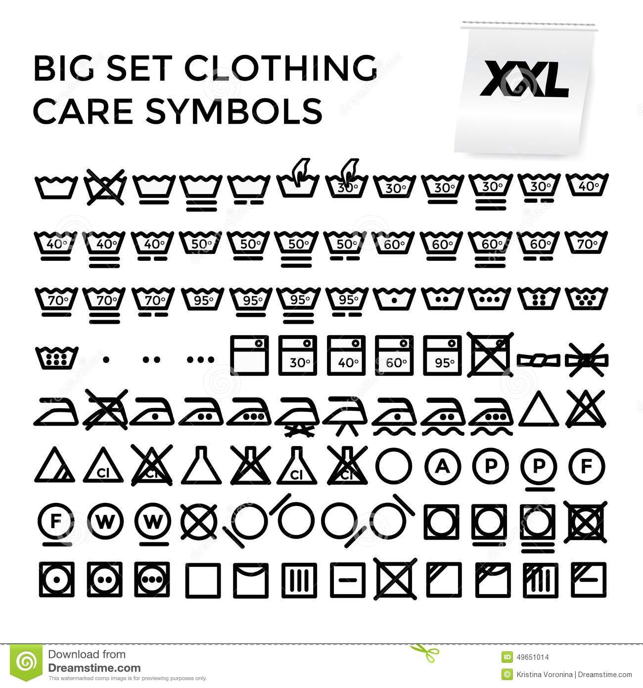 Vector Illustration Set Clothing Care Symbols Stock Vector