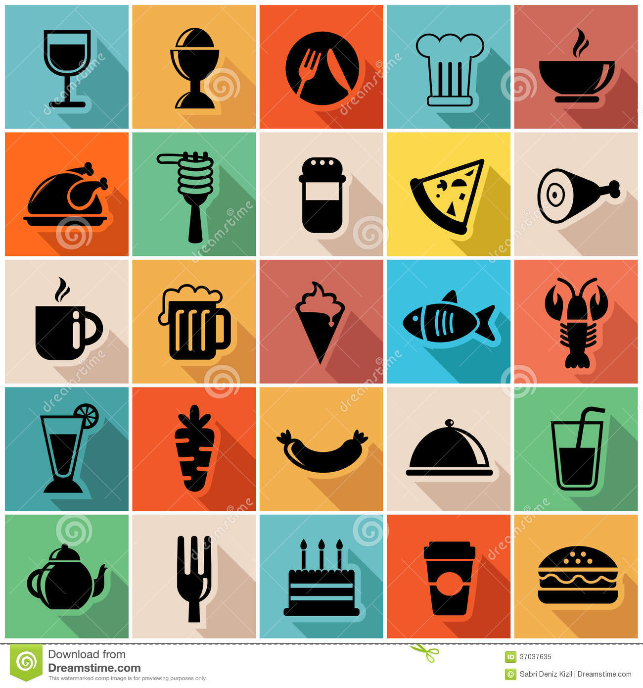 Vector illustration set of colorful food icons in