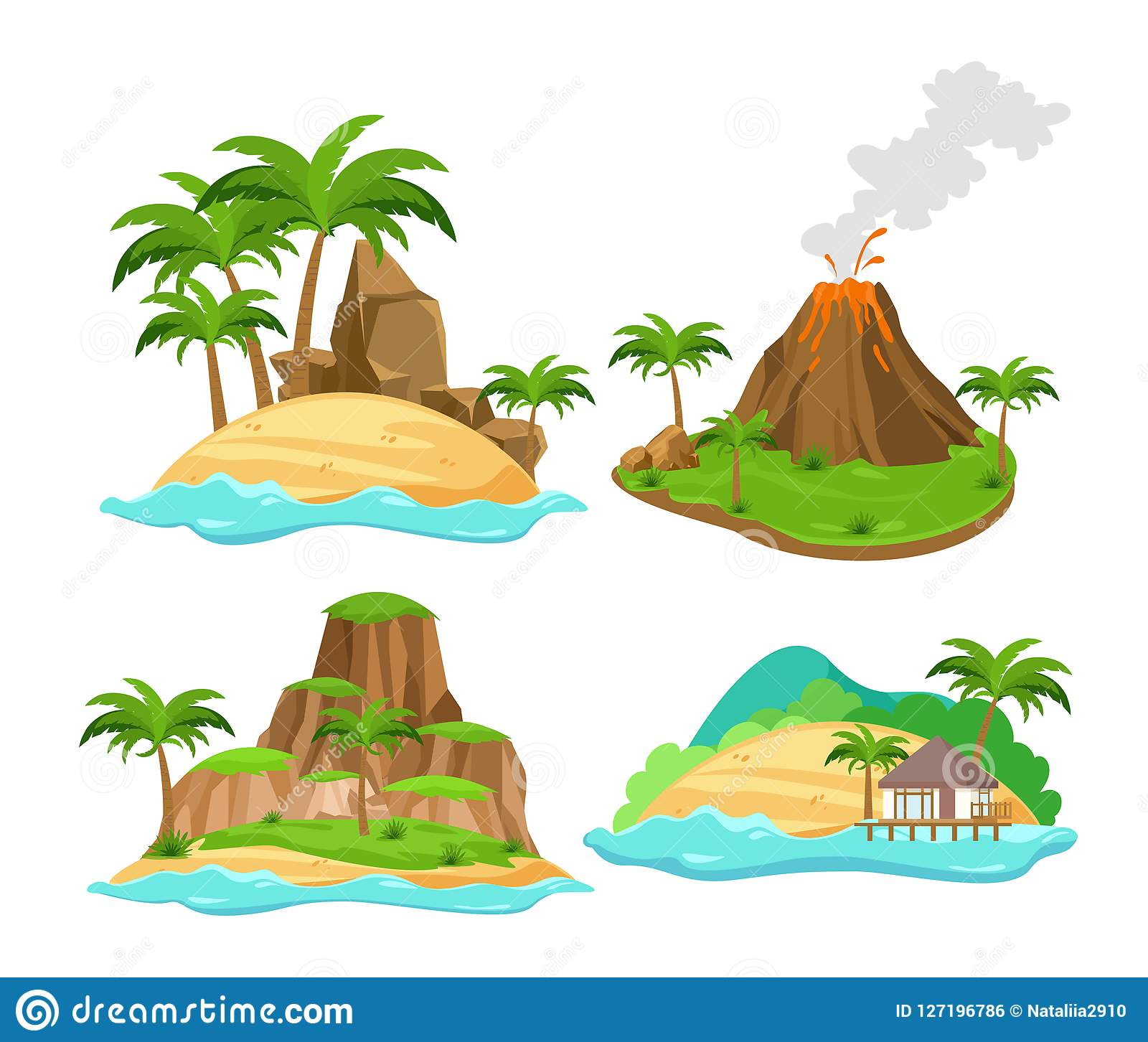 Vector illustration set of different scenes of tropical islands with palm trees and mountains, volcano isolated on white