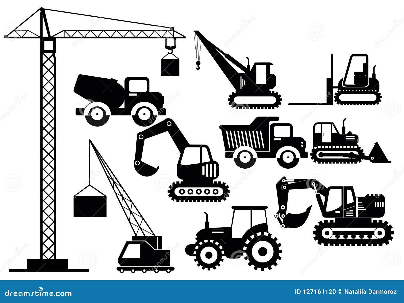 Vector Illustration Set Of Excavators And Heavy Construction
