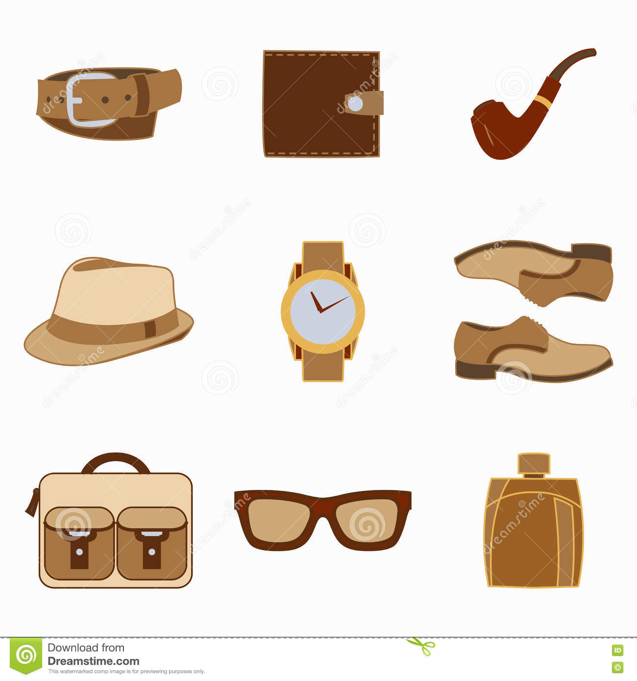 Set Of Men Fashion Clothing And Accessories Design Vector ...