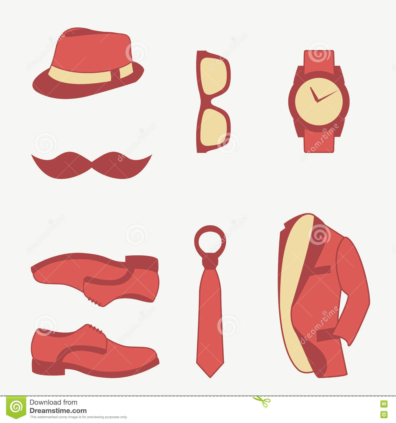 Set Of Men Fashion Clothing And Accessories Design Vector And Icon Vector Illustration