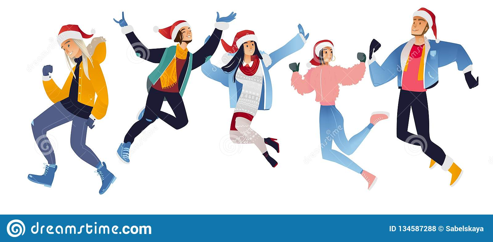 Vector illustration set of happy young people in Santa Claus hats jumping and having fun.