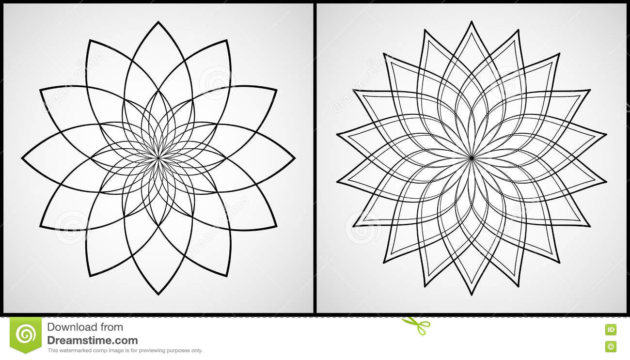 Vector Illustration - Set Of 2 Mandalas For Coloring. Round ...