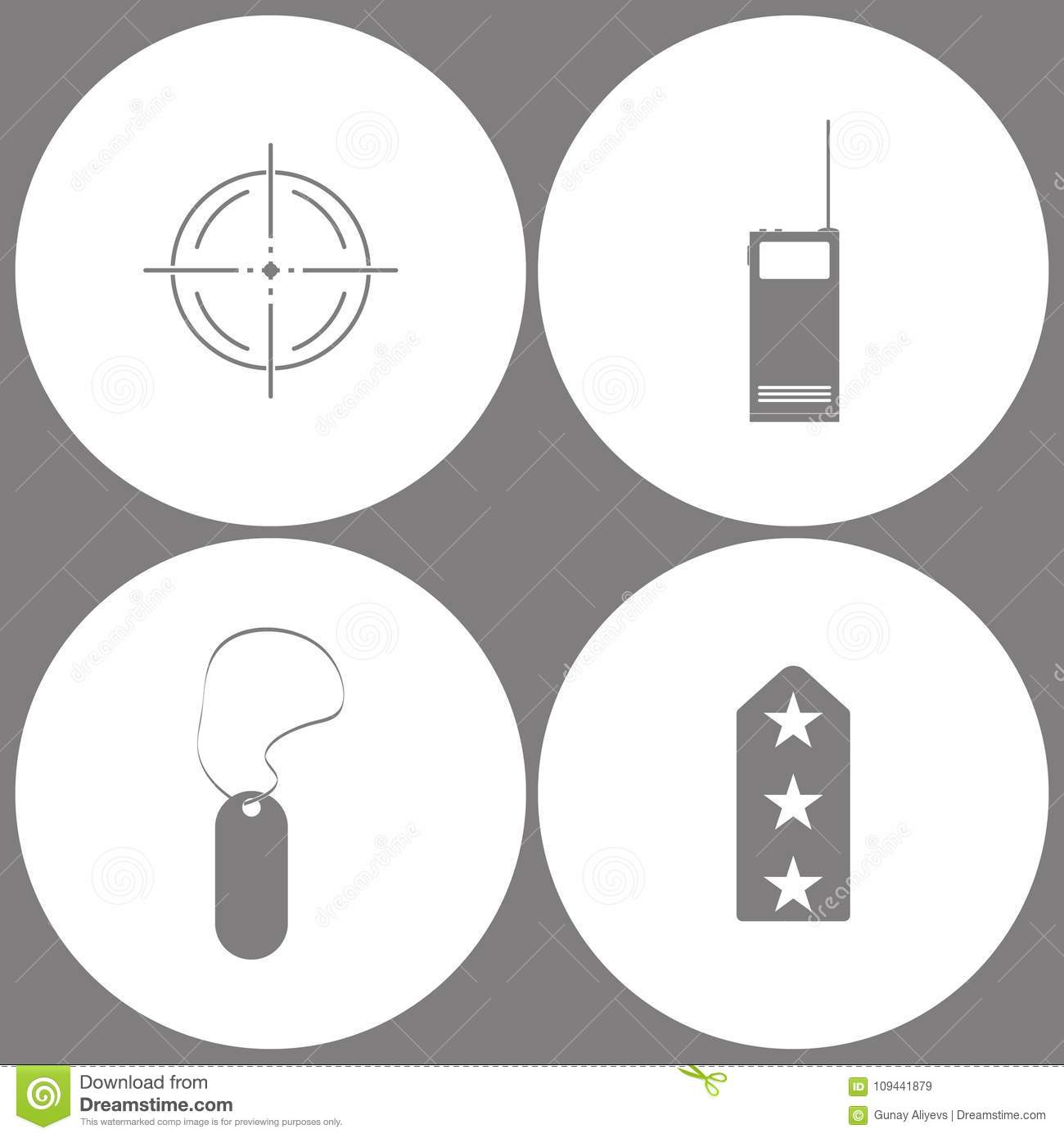 Vector Illustration Set Office Army Icons Elements Of Target Two Circuit Diagram Walkie Talkie Way Radio Military Tag And Rank Shoulder Straps Icon On White Background