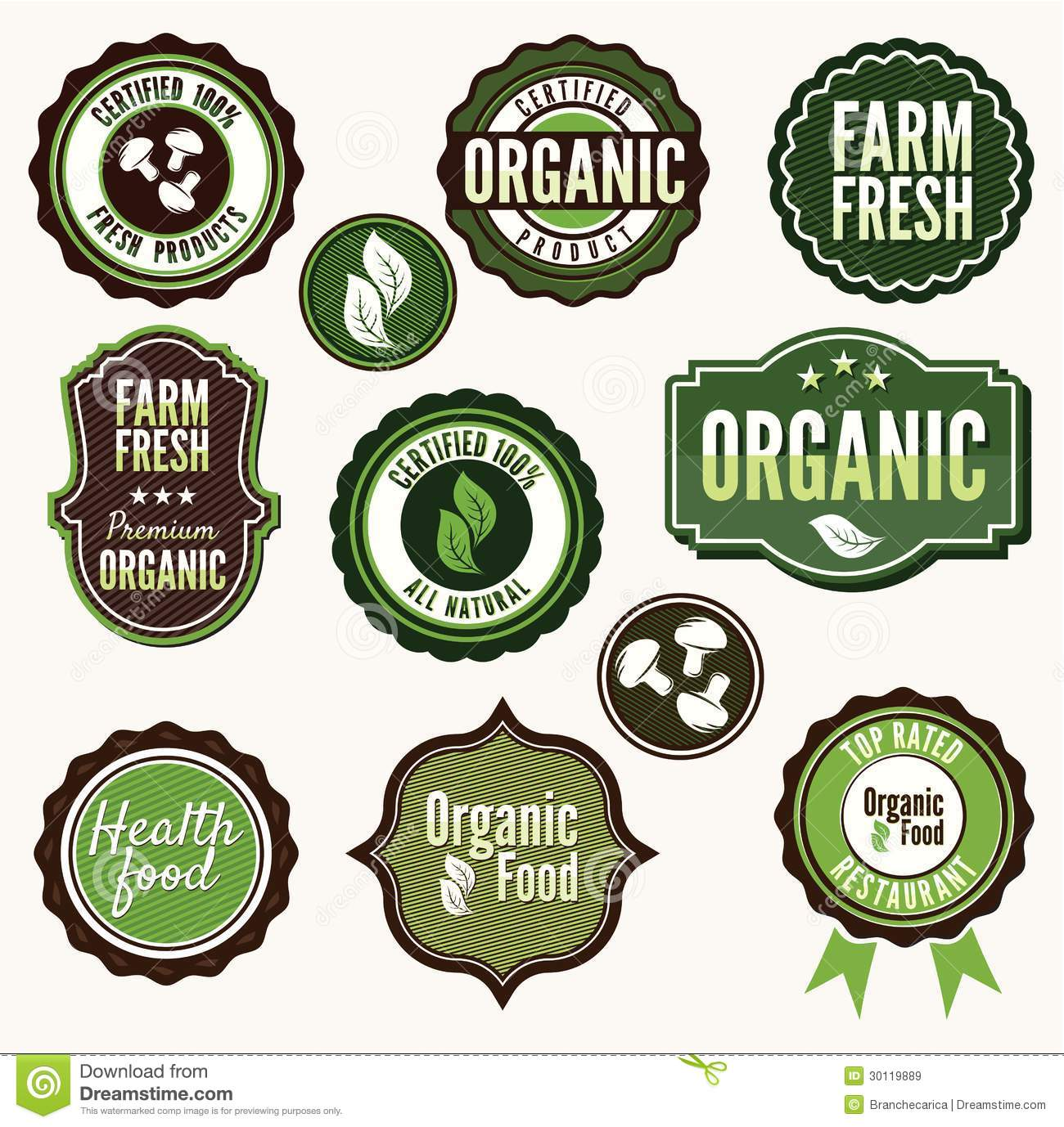Set Of Labels For Natural Farming:  Set Of Organic And Farm Fresh Food Badges And Labe Stock