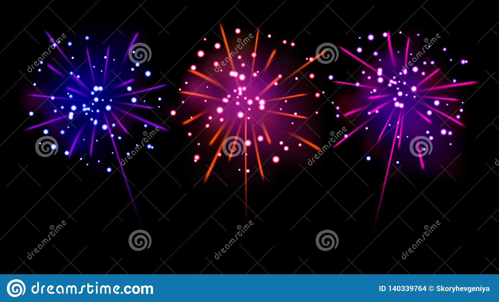 Vector Illustration Set Of Realistic Blue, Pink, Purple Firecrackers