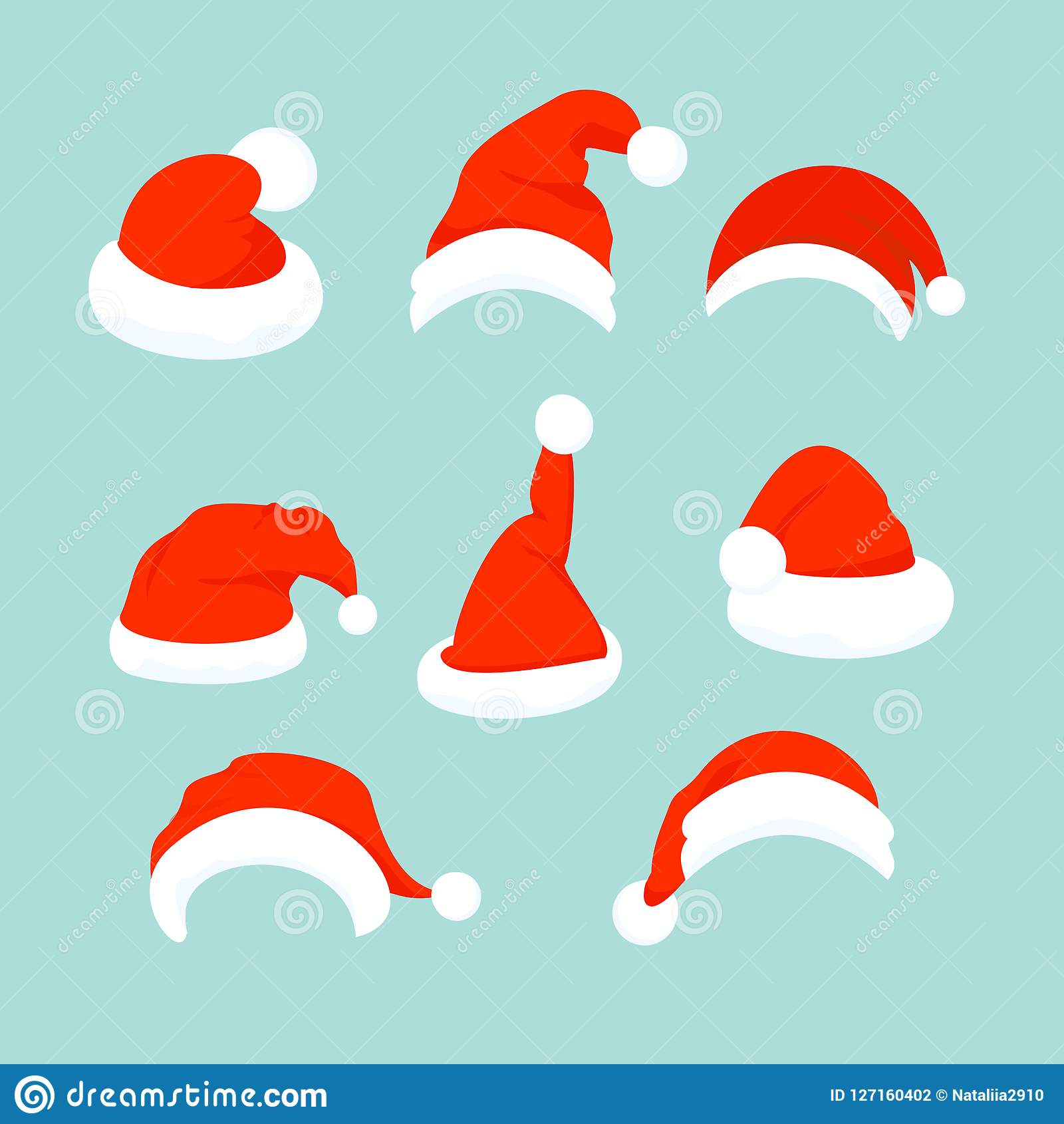 Vector illustration of set of Santa Hats in flat cartoon design.