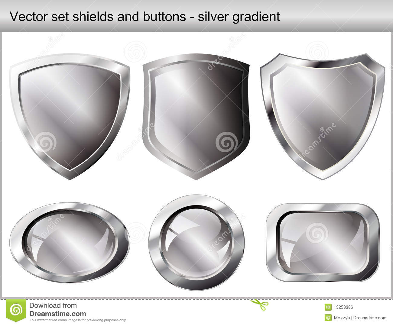 Vector illustration set. Shiny shield and button