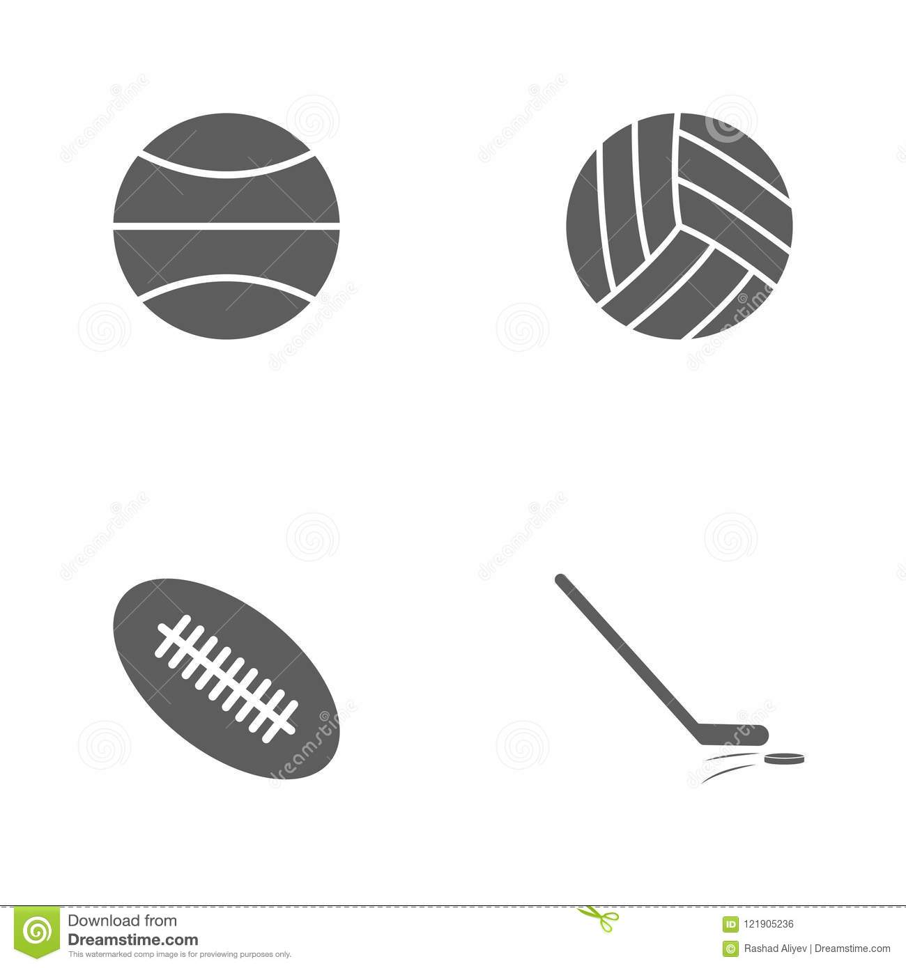 Vector illustration set sport icons. Elements stick and washer, rugby ball, volleyball and basketball icon