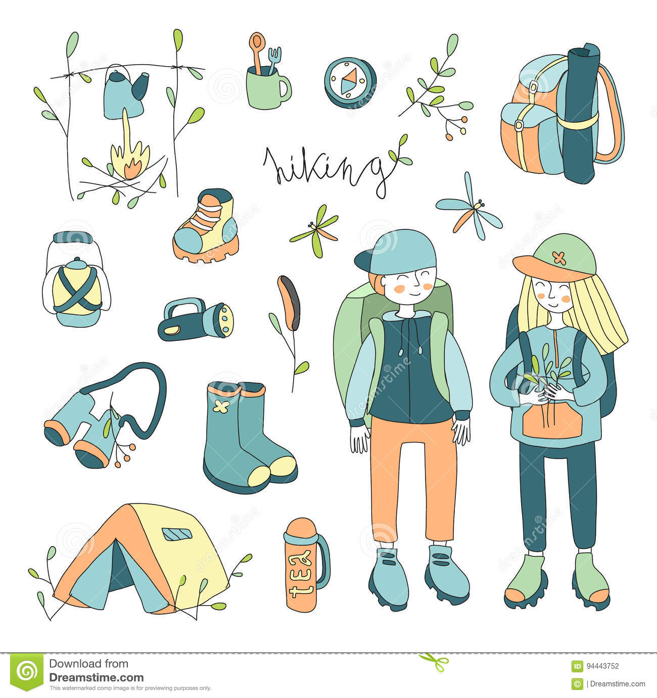 Vector illustration set on the theme of outdoor, hiking , camping, picnic.