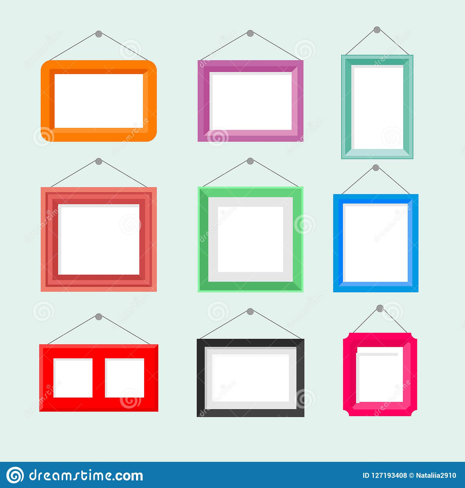 Vector illustration set of vintage photo picture frame. Painting drawing frame collection on blue background in cartoon