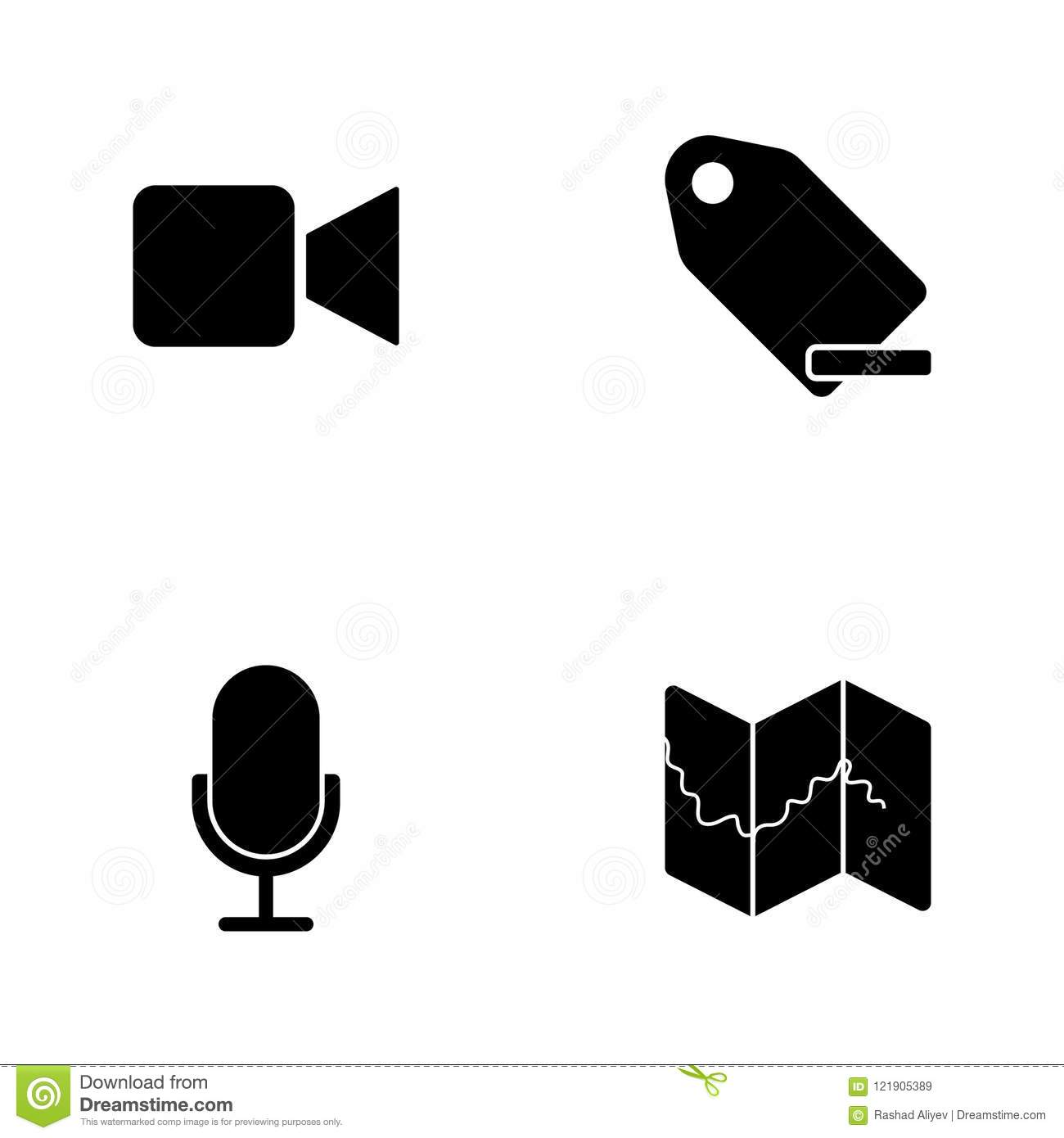 Vector Illustration Set Web Icons  Elements Map, Microphone